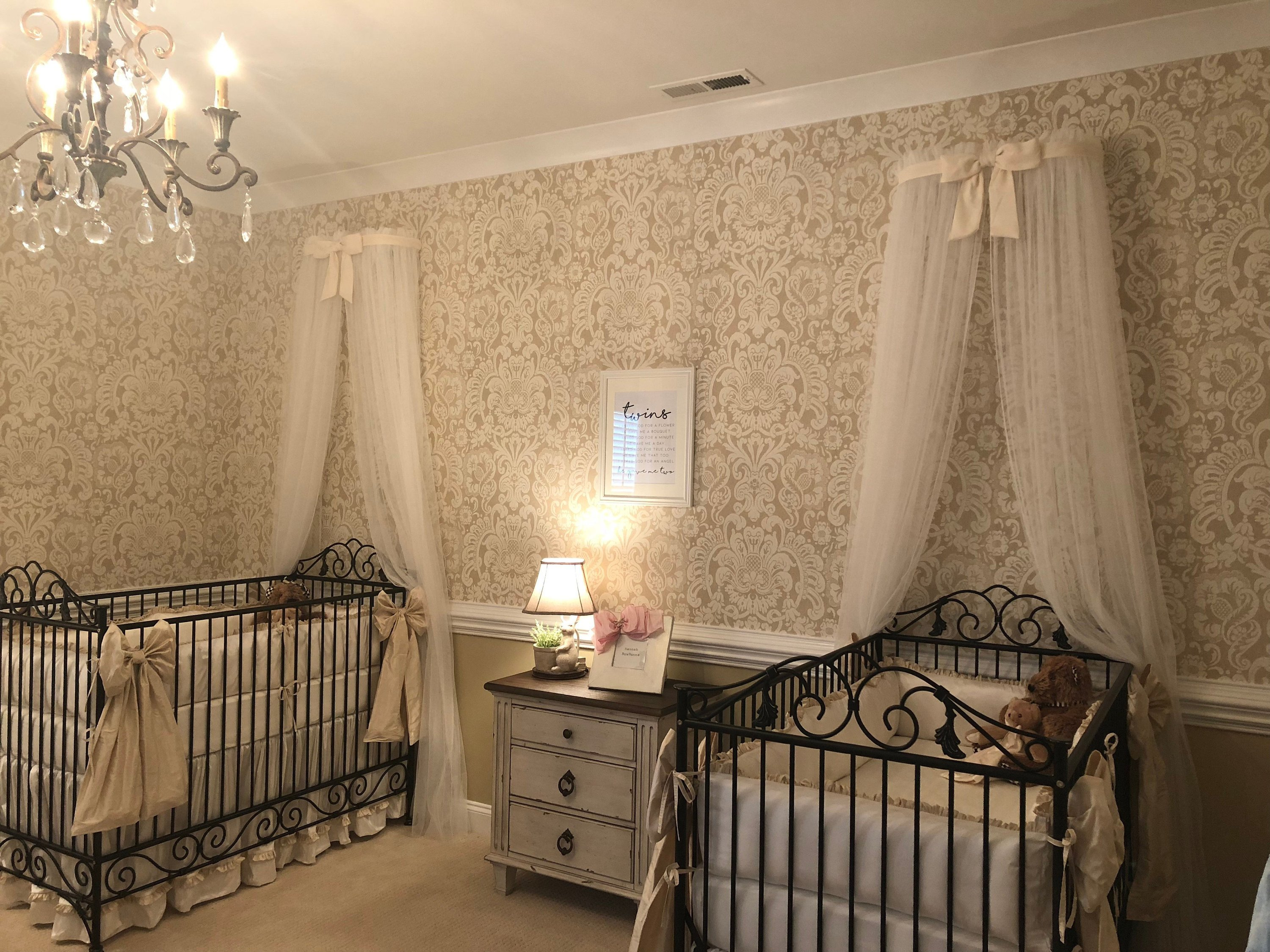 Girl Canopy Bedroom Set Beautiful Princess Bed Canopy Crown Twins Sisters Cream Ivory Bow Teester Cornice Coronet Crib Nursery Baby Sheer Curtain Custom so Zoey Boutique Sale