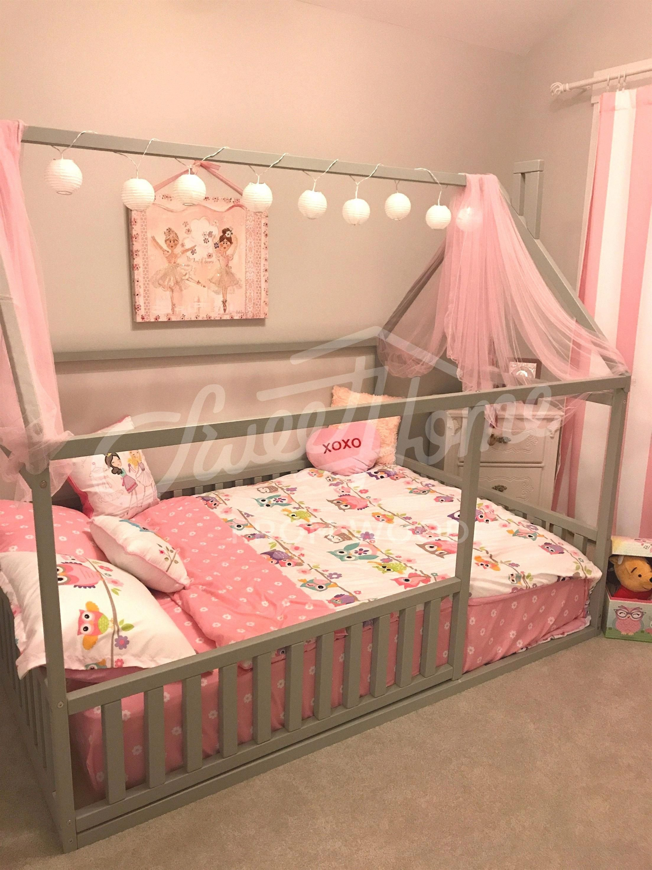 Girl Canopy Bedroom Set Unique toddler Furniture Teepee Kids Home Bed Full Double Size