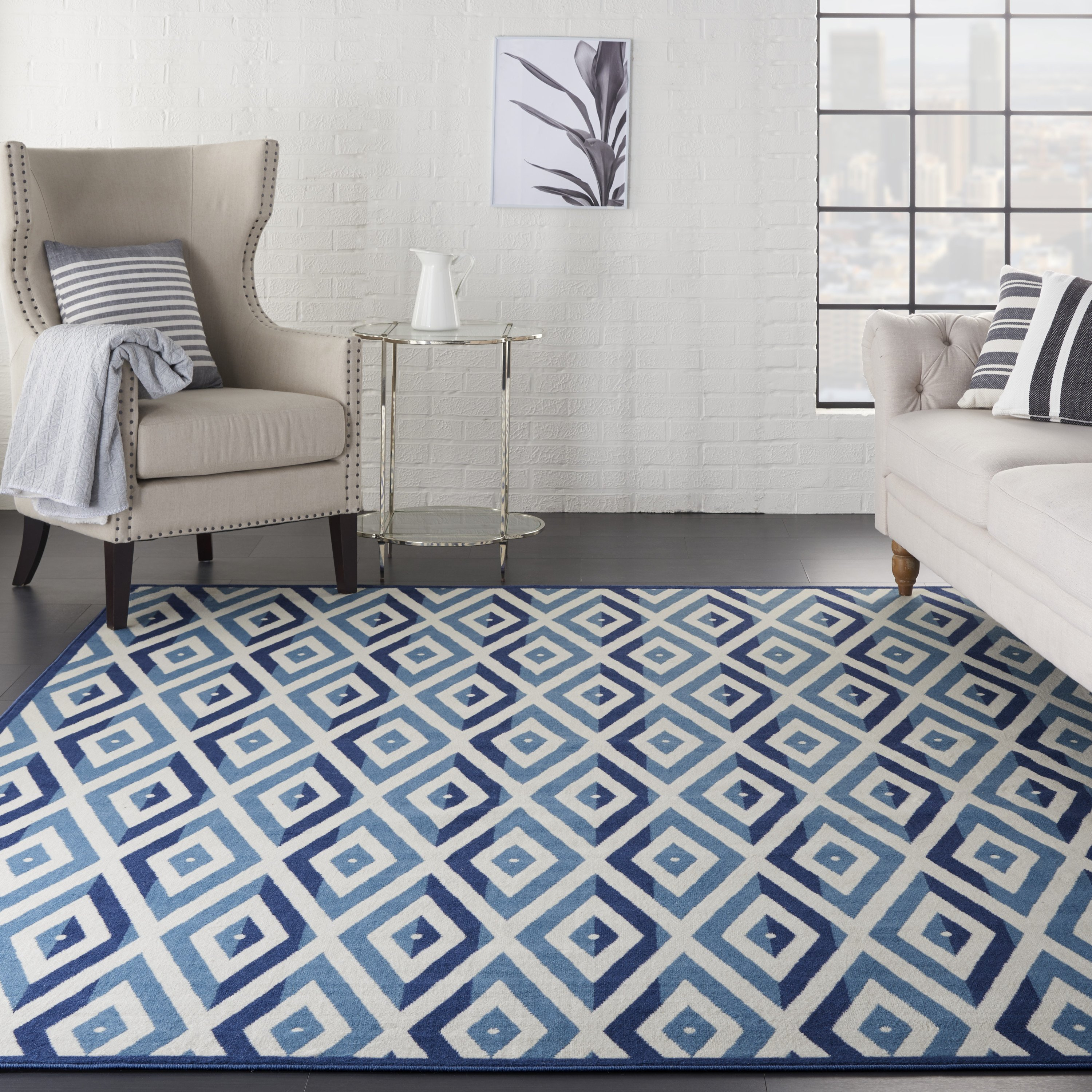 Girls Bedroom area Rugs New Nourison Grafix Geometric White Blue area Rug