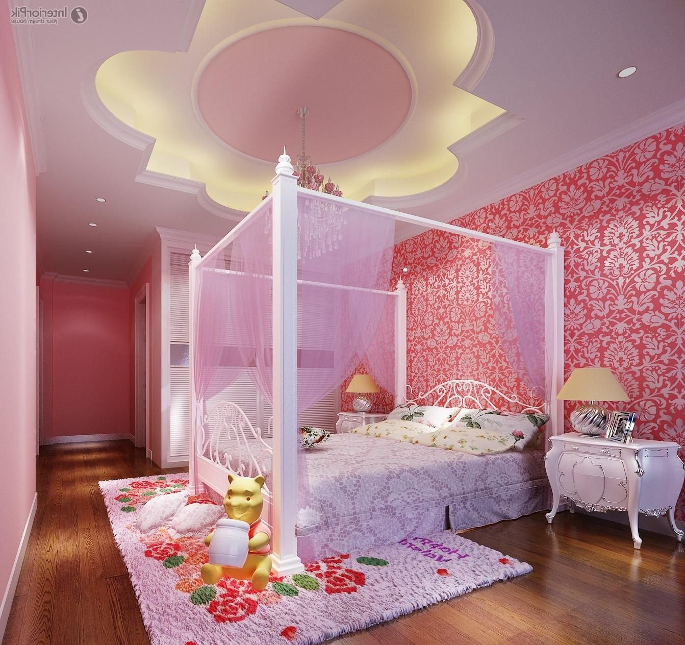 Girls Bedroom Ceiling Light Beautiful Amazing Girls Bedroom Decoration with Led Lighting In Floral