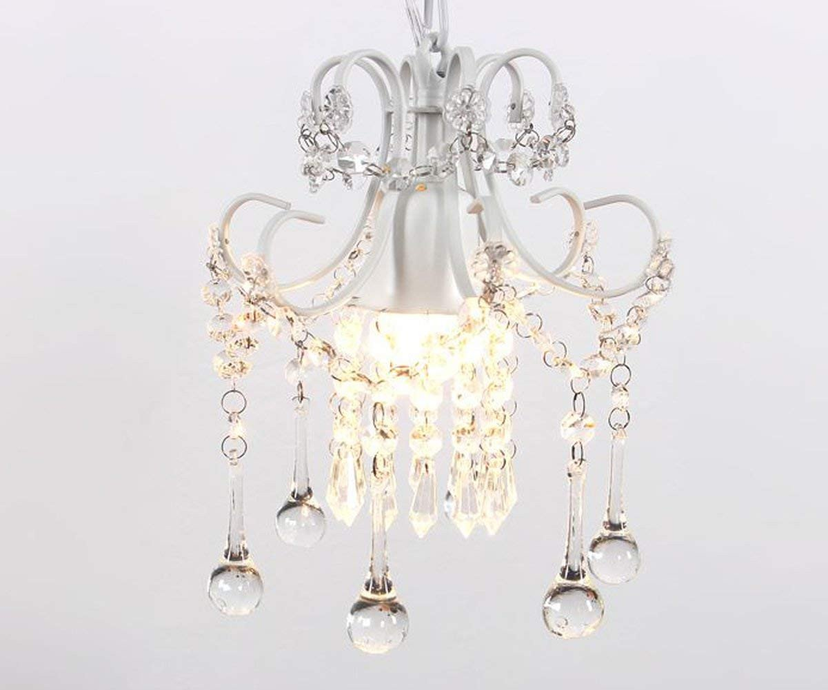 Girls Bedroom Ceiling Light Elegant Mini Style Crystal Chandelier Pendant Light White 1 Light