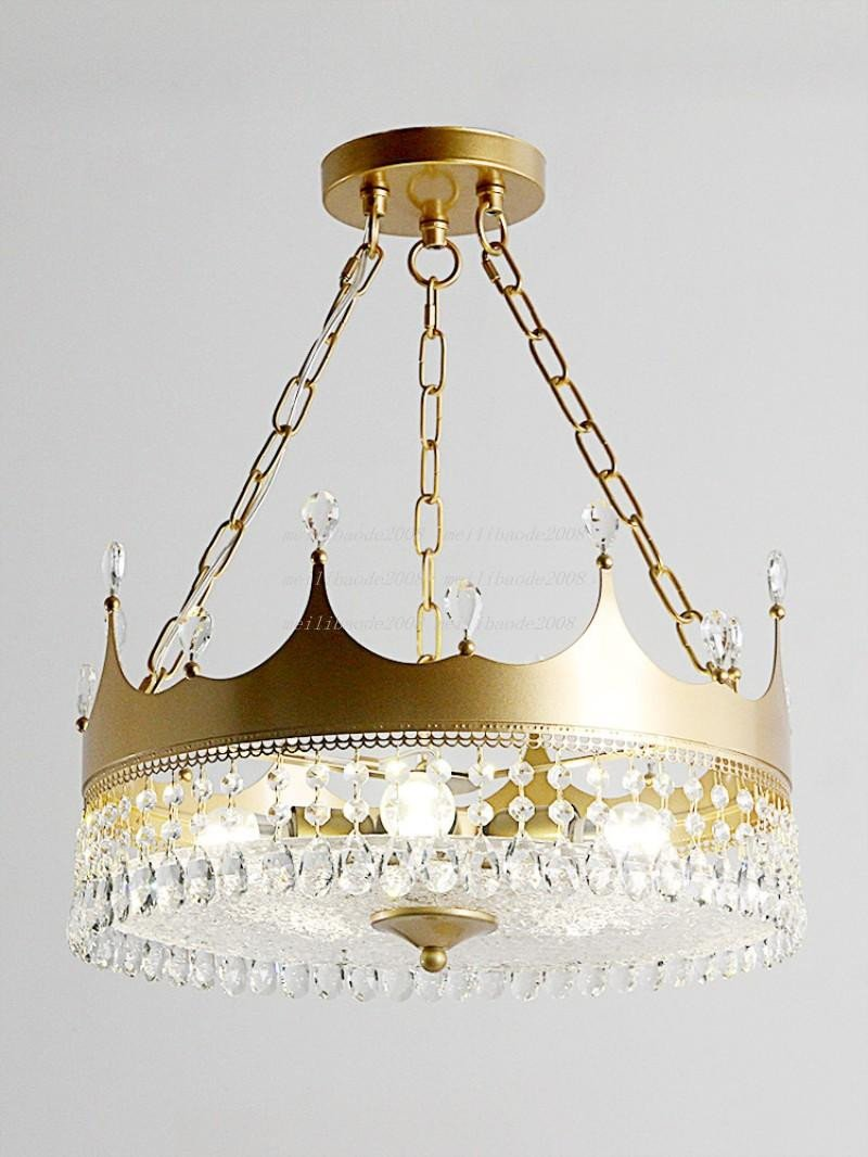 Girls Bedroom Ceiling Light Lovely nordic Girl Luxury Crown Crystal Chandelier Boy Kids Bedroom Pendant Lamp Hanging Lights Gold Suspension Lighting Fixtures Myy Pendant Lamps Kitchen