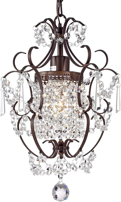 Girls Bedroom Ceiling Light Luxury Crystal Chandelier Lighting Bronze Chandeliers 1 Light Iron Ceiling Light Fixture