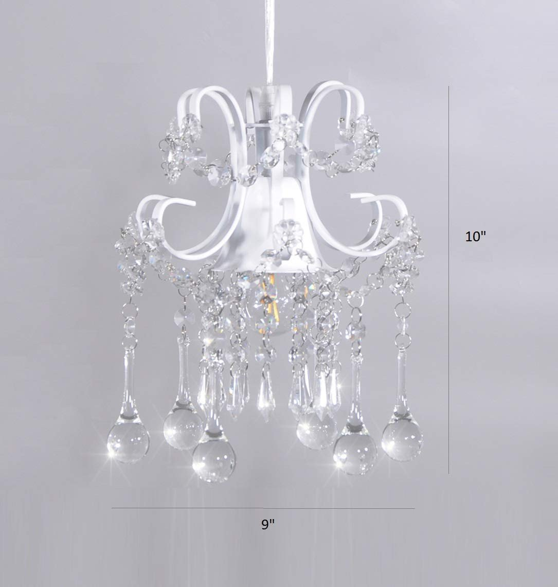 Girls Bedroom Ceiling Light Unique Mini Style Crystal Chandelier Pendant Light White 1 Light