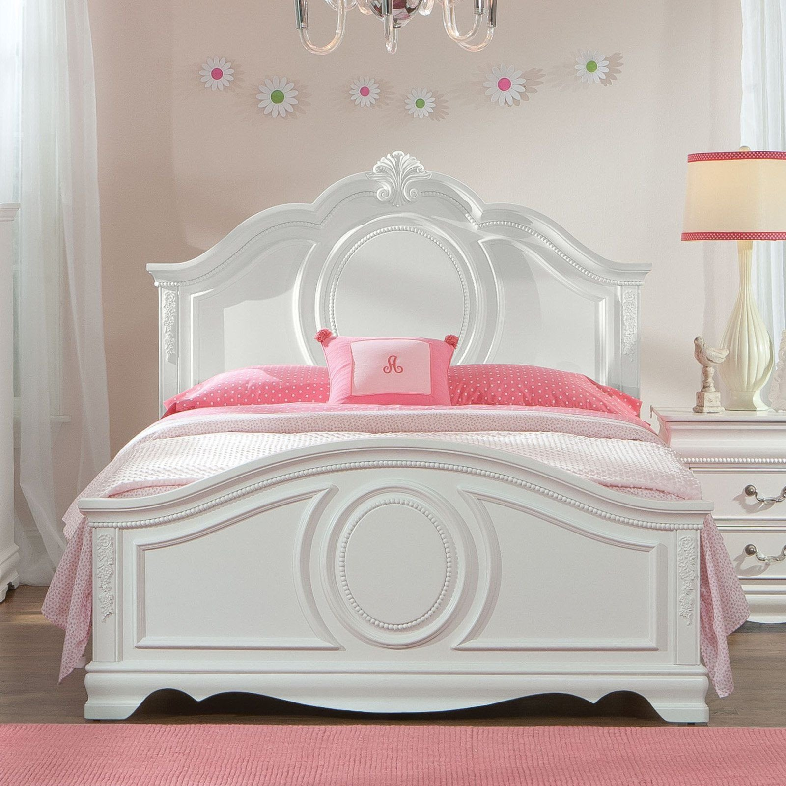 Girls Full Size Bedroom Set Luxury Standard Furniture Jessica Panel Bed White Stfm706