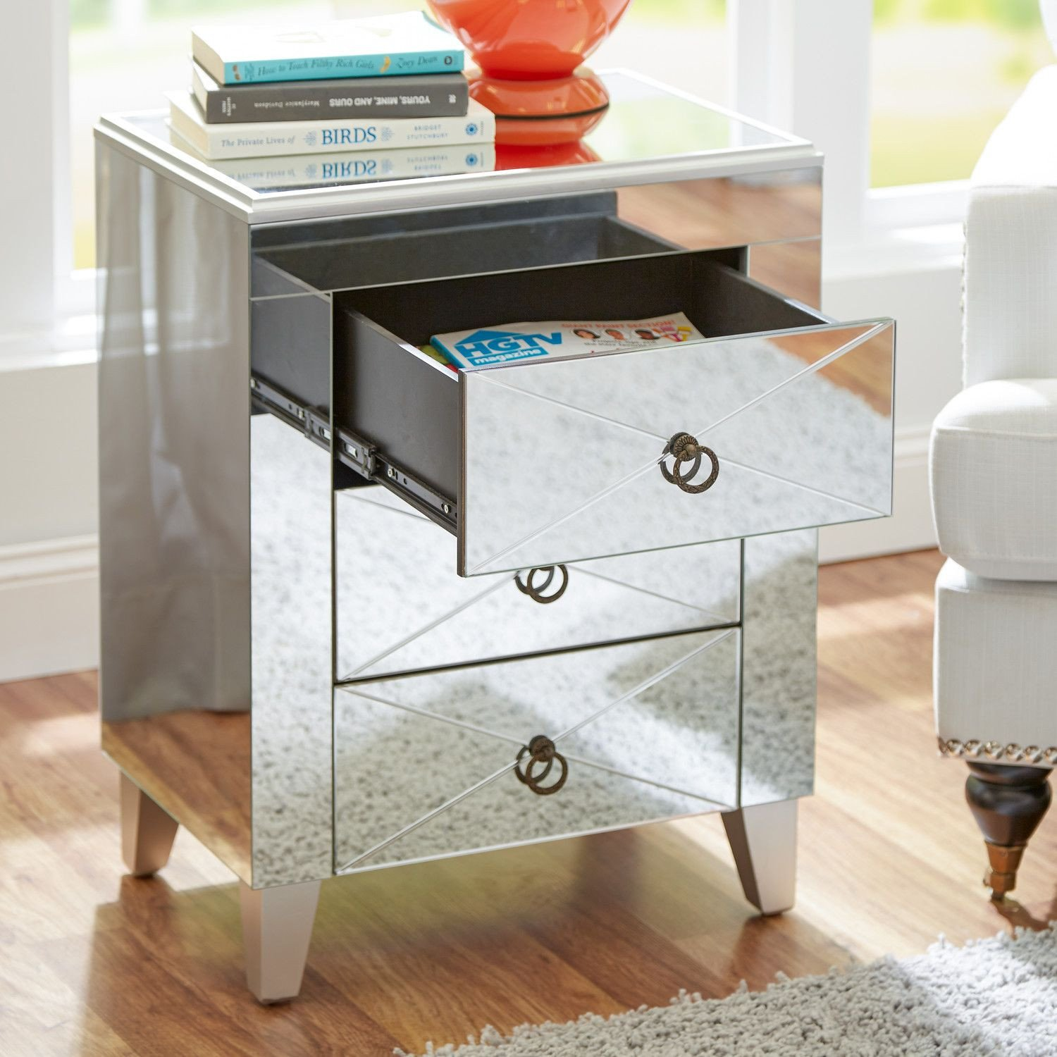 Glass Side Tables for Bedroom Elegant House Of Hampton Mirrored 3 Drawer Side Table