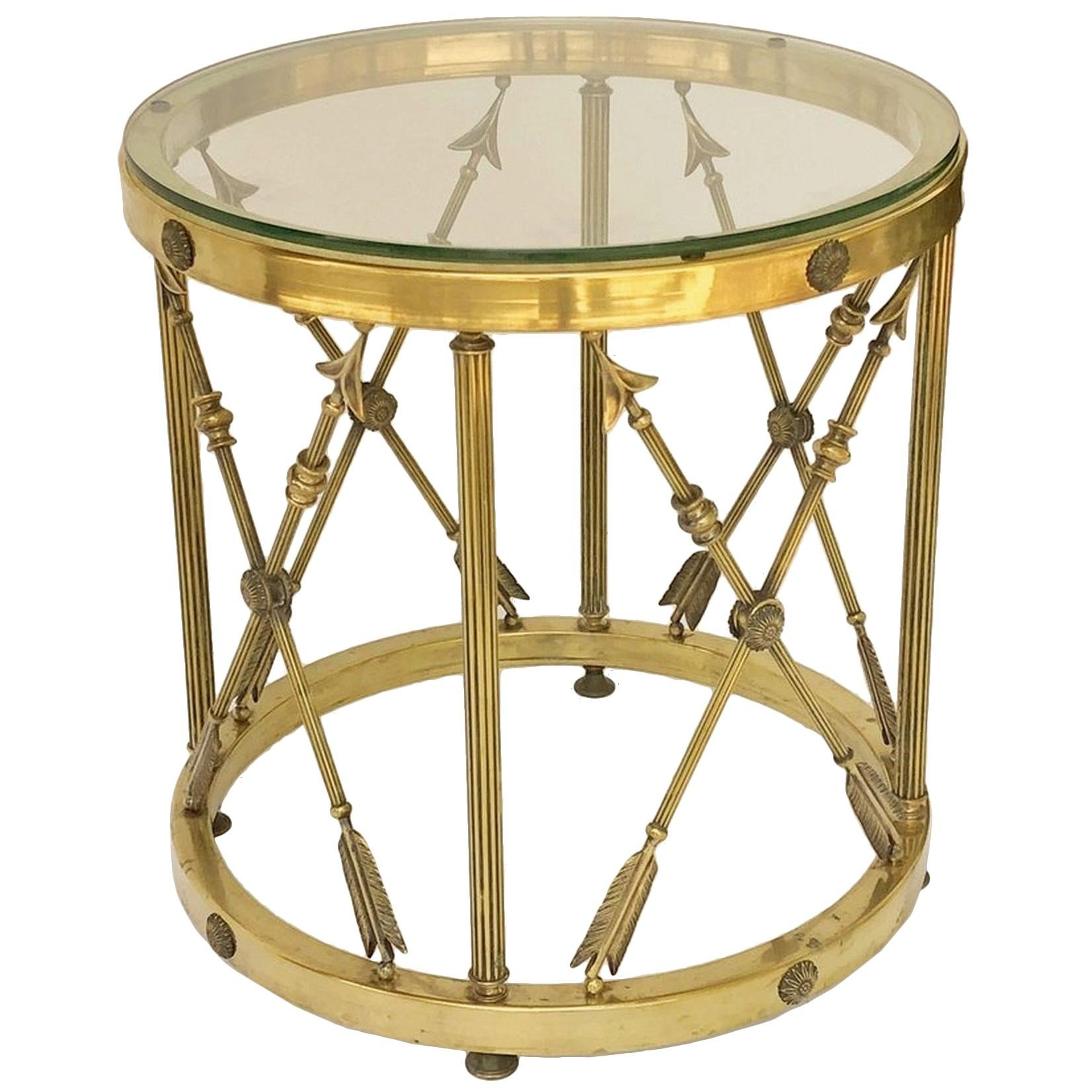 Glass Side Tables for Bedroom Elegant Round Brass and Glass English Occasional Table