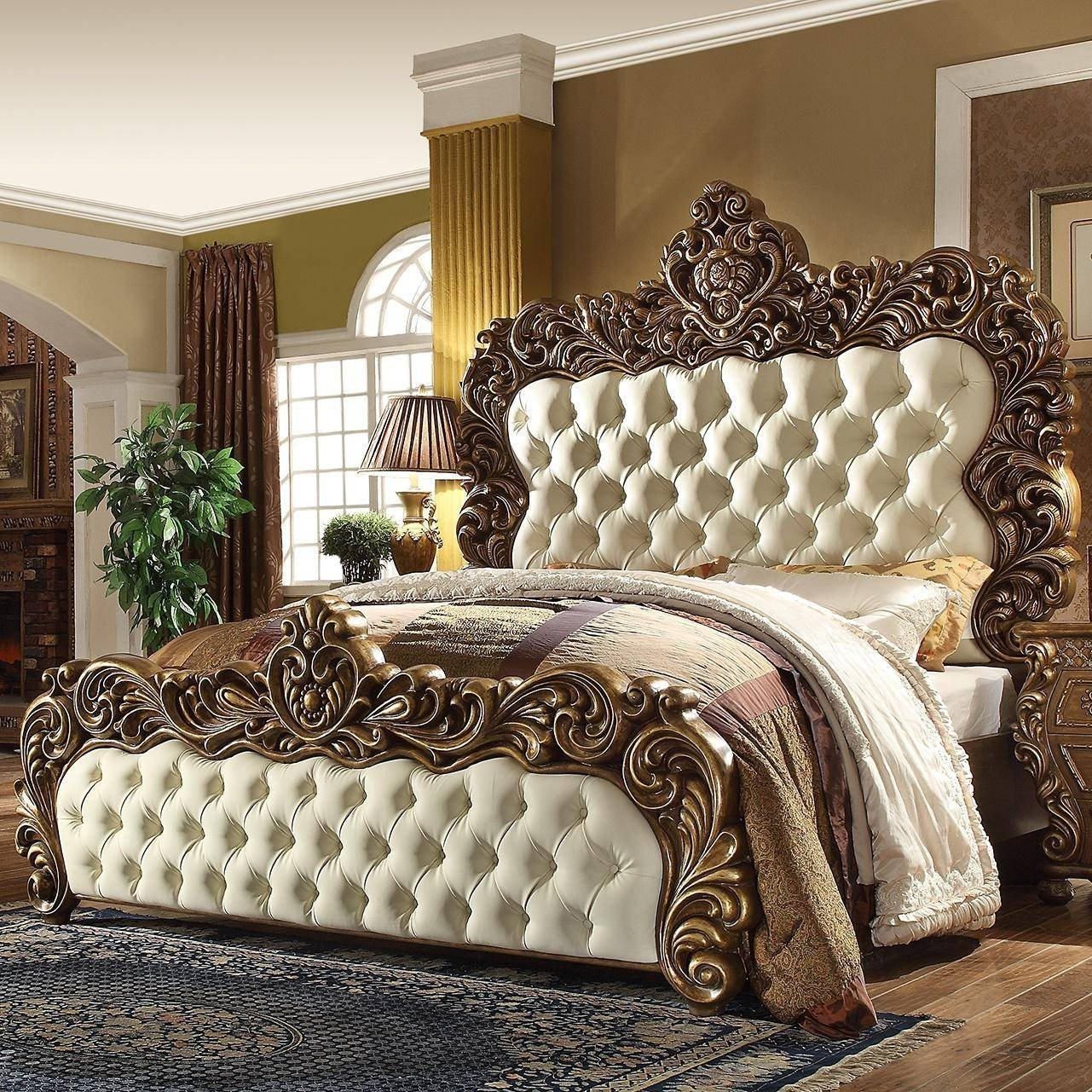 Golden and White Bedroom Elegant Rich Walnut Golden Finish Cal King Bedroom Set 5pcs