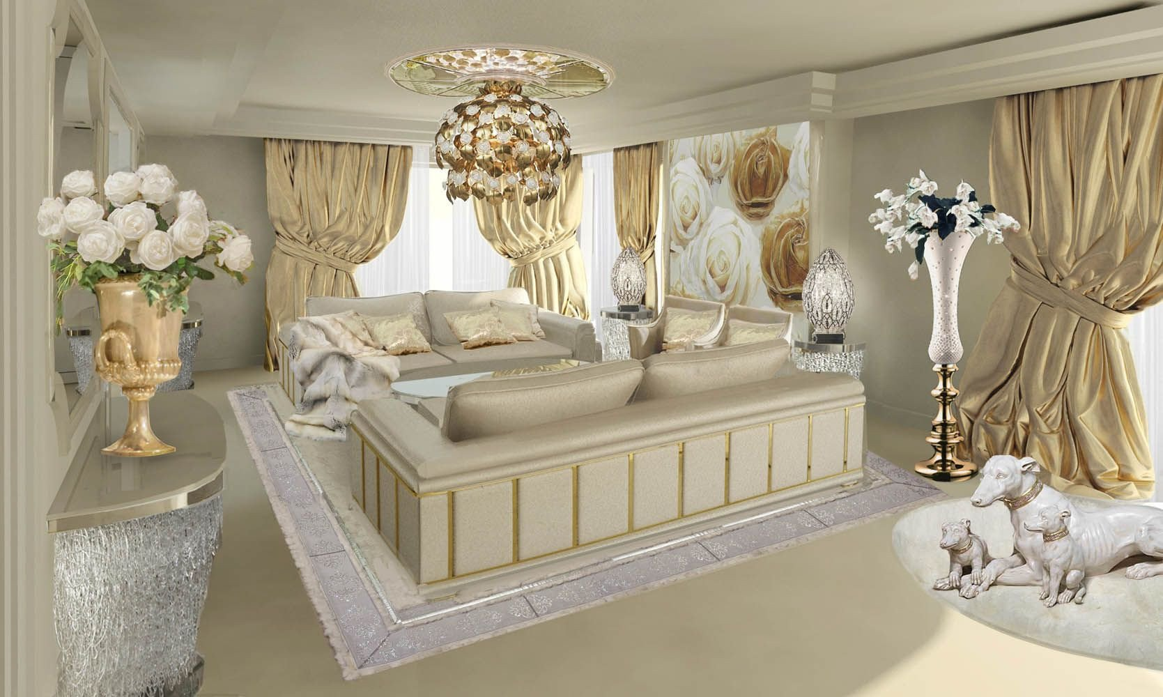 Golden and White Bedroom Fresh Lidia Bersani Luxury Interior Design Richly Decorated