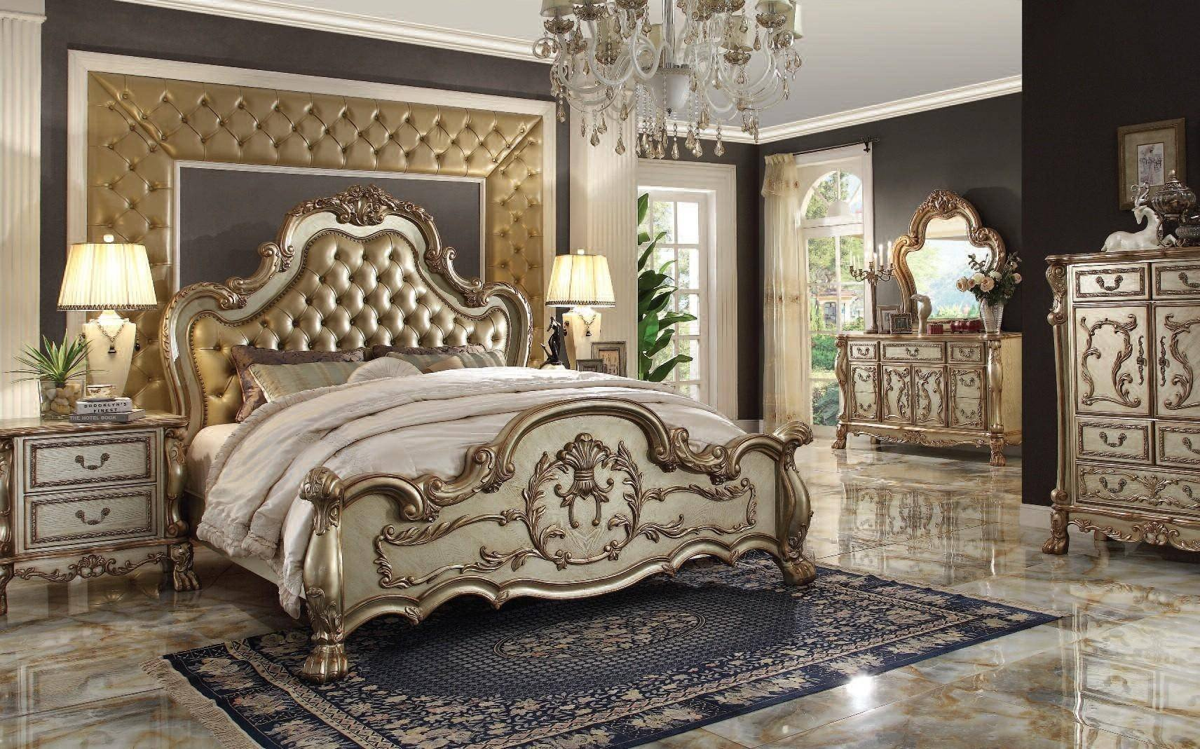 Golden and White Bedroom Lovely Tufted Gold Patina King Bed Dresden Ek Acme Victorian Classic