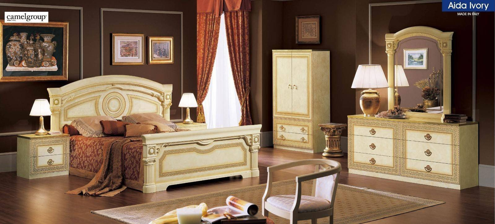 Golden and White Bedroom Unique Esf Aida Ivory Gold Lacquer Finish Queen Bedroom Set 5ps