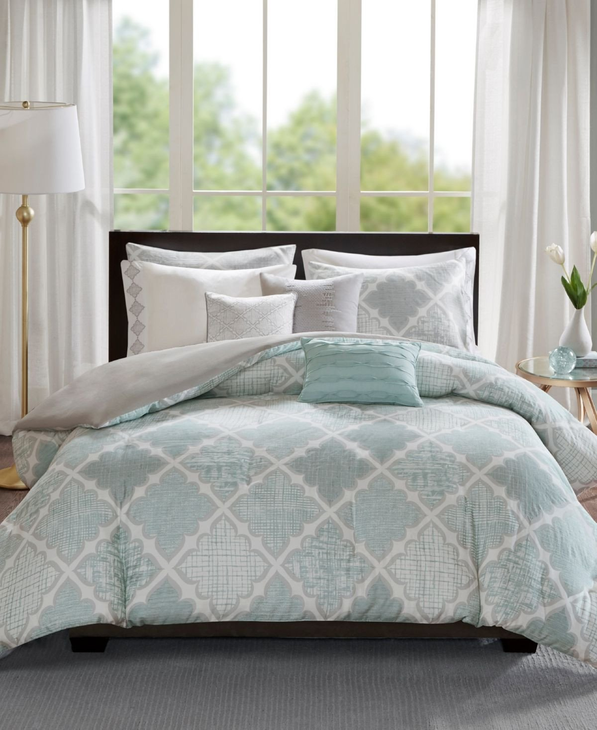 Gray and Aqua Bedroom Lovely Madison Park Cadence Cotton 8 Pc King California King Duvet