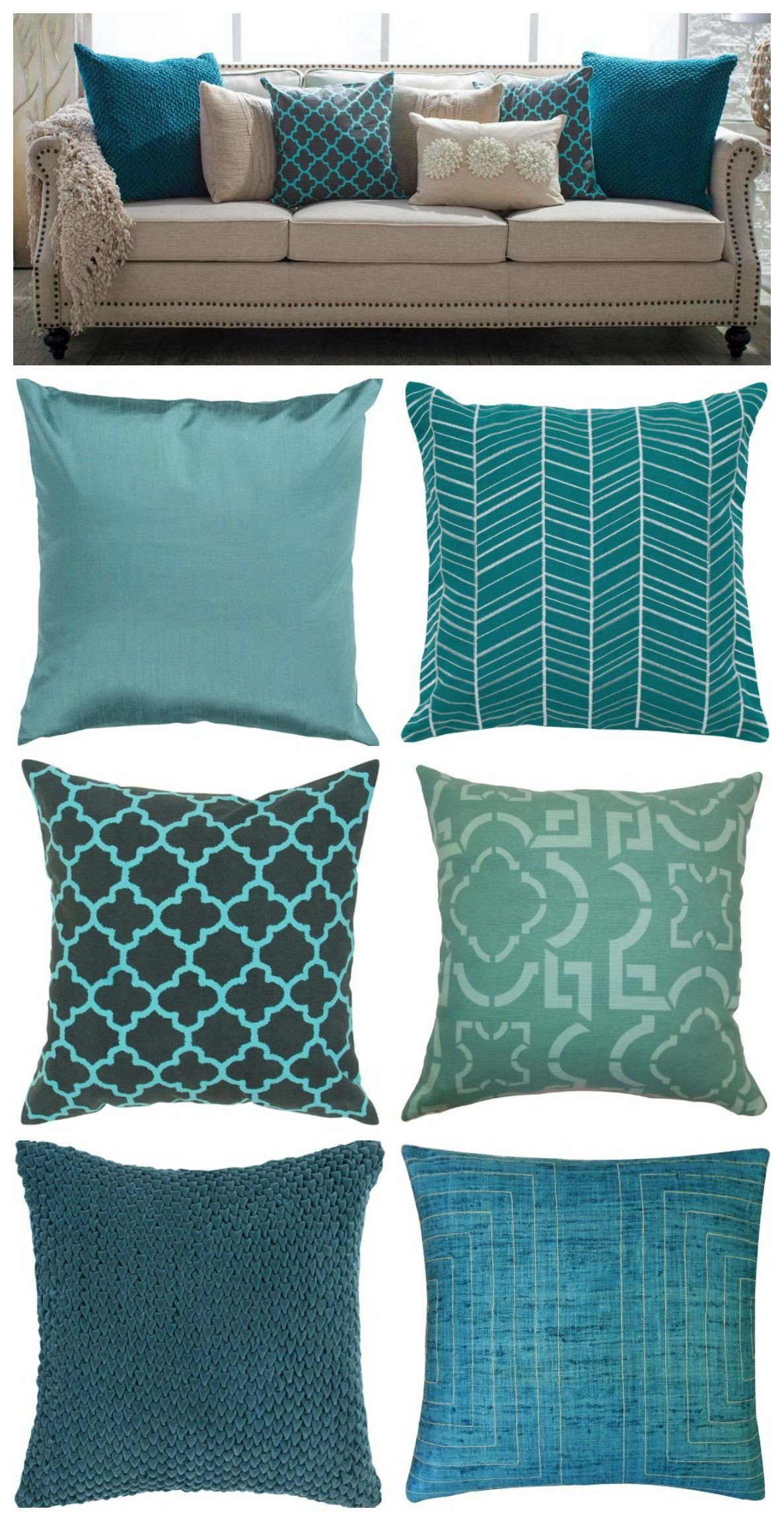Gray and Aqua Bedroom New Teal Pillows