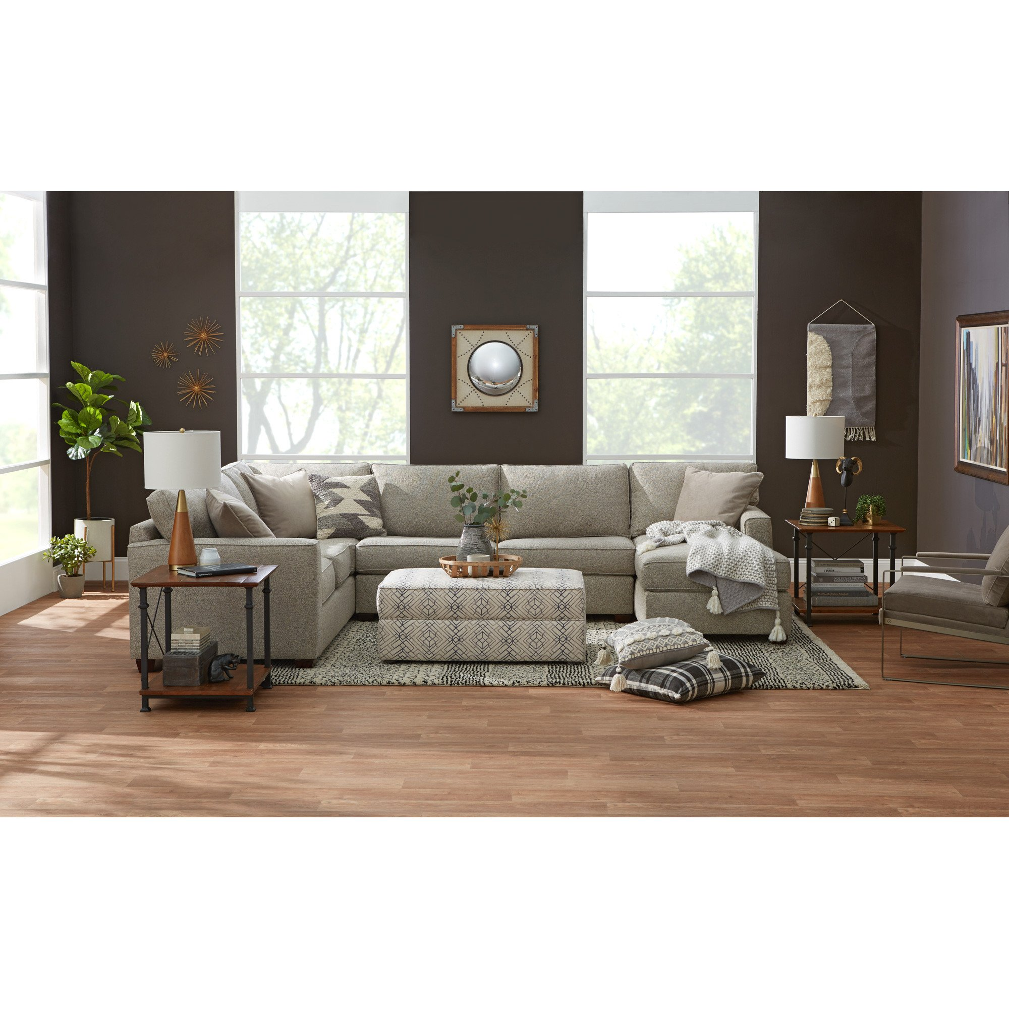 Gray and Brown Bedroom Unique Rise 3 Piece Right Sectional Living Rooms