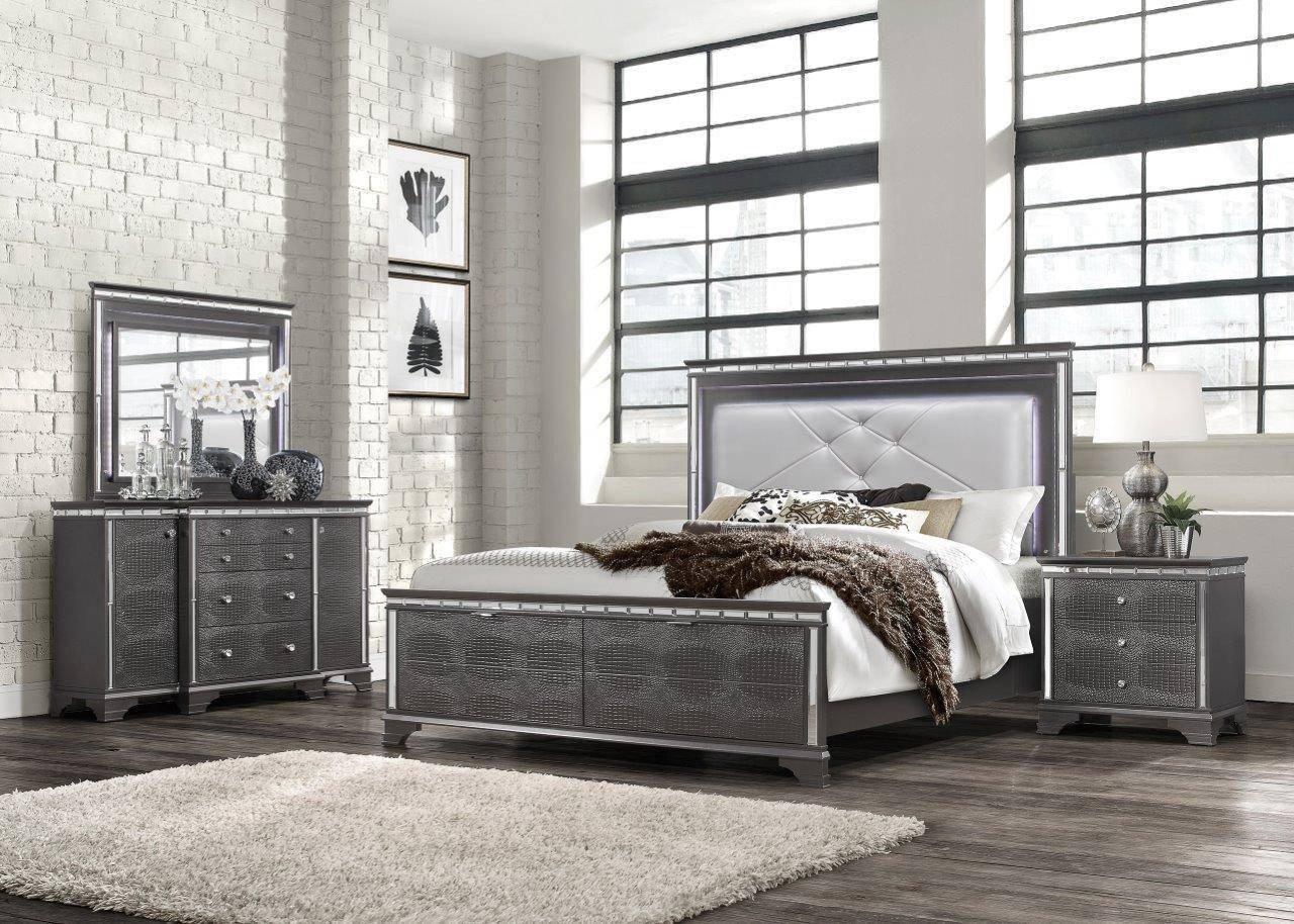 Gray King Bedroom Set Awesome Global Furniture Penelope Modern Metallic Grey Finish King