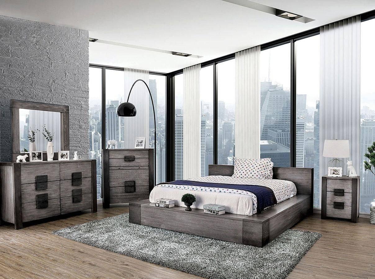 Gray King Bedroom Set New Rustic Gray Finish King Bedroom Set 5 Pcs Janeiro Furniture