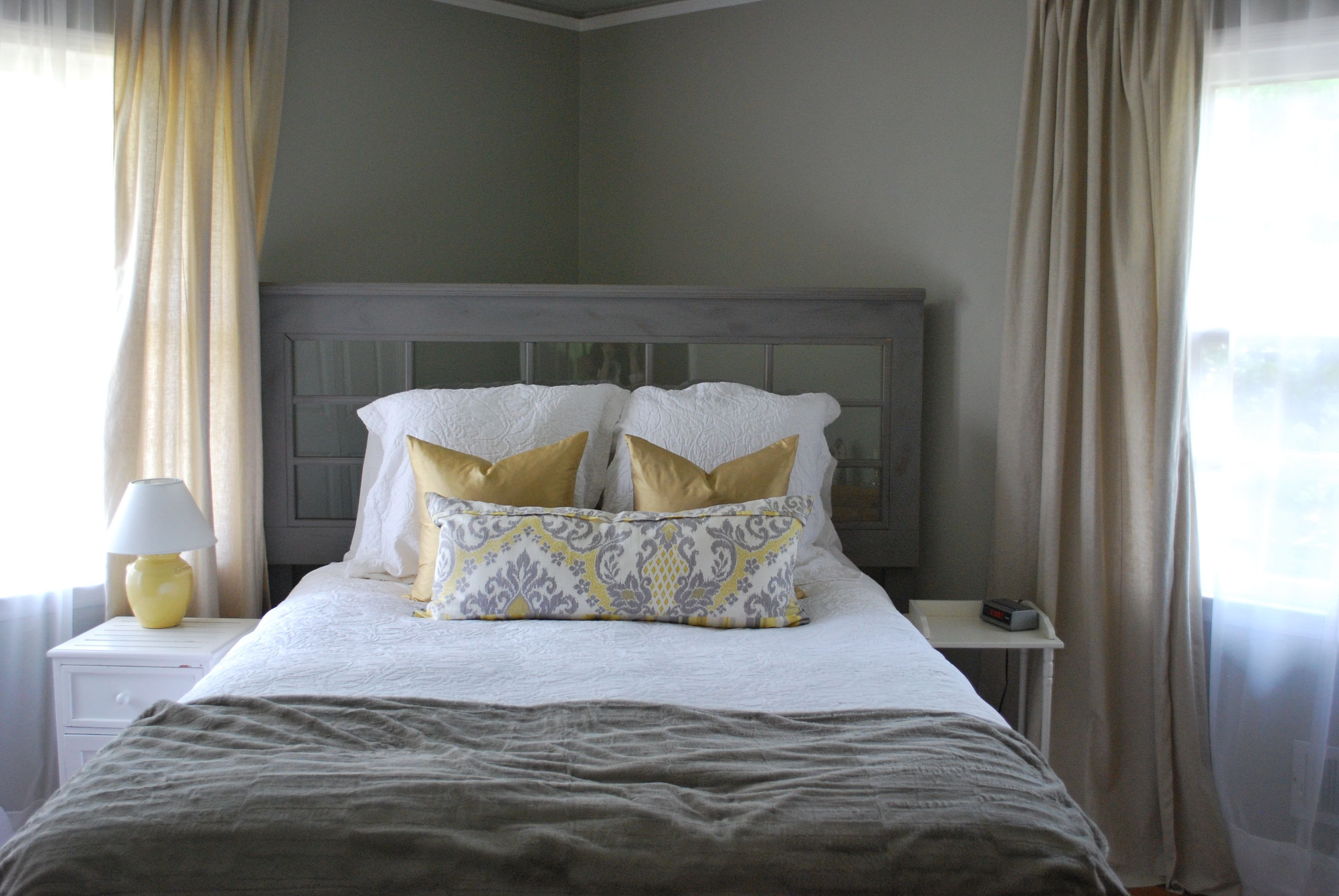 Grey and Tan Bedroom Beautiful Grey Walls Tan Linen Curtains but with orange