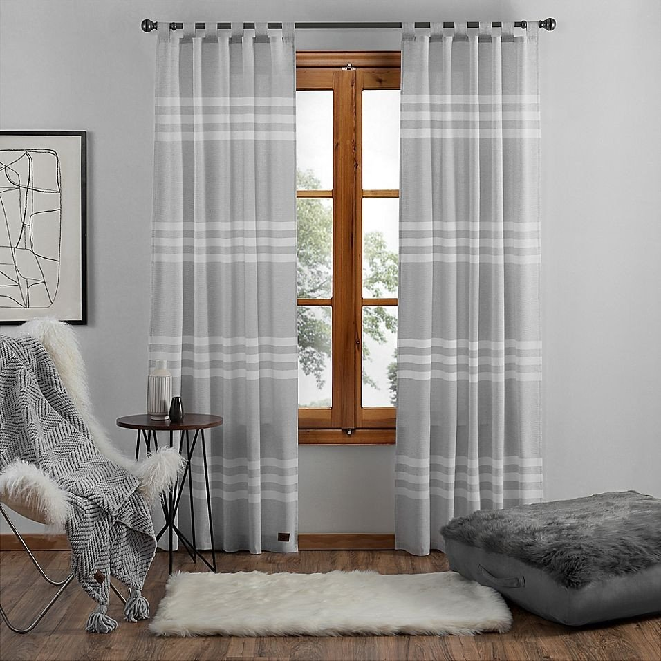 "Grey Curtains for Bedroom Elegant Ugg Riley Stripe 108"" Tab top Window Curtain Panel In"
