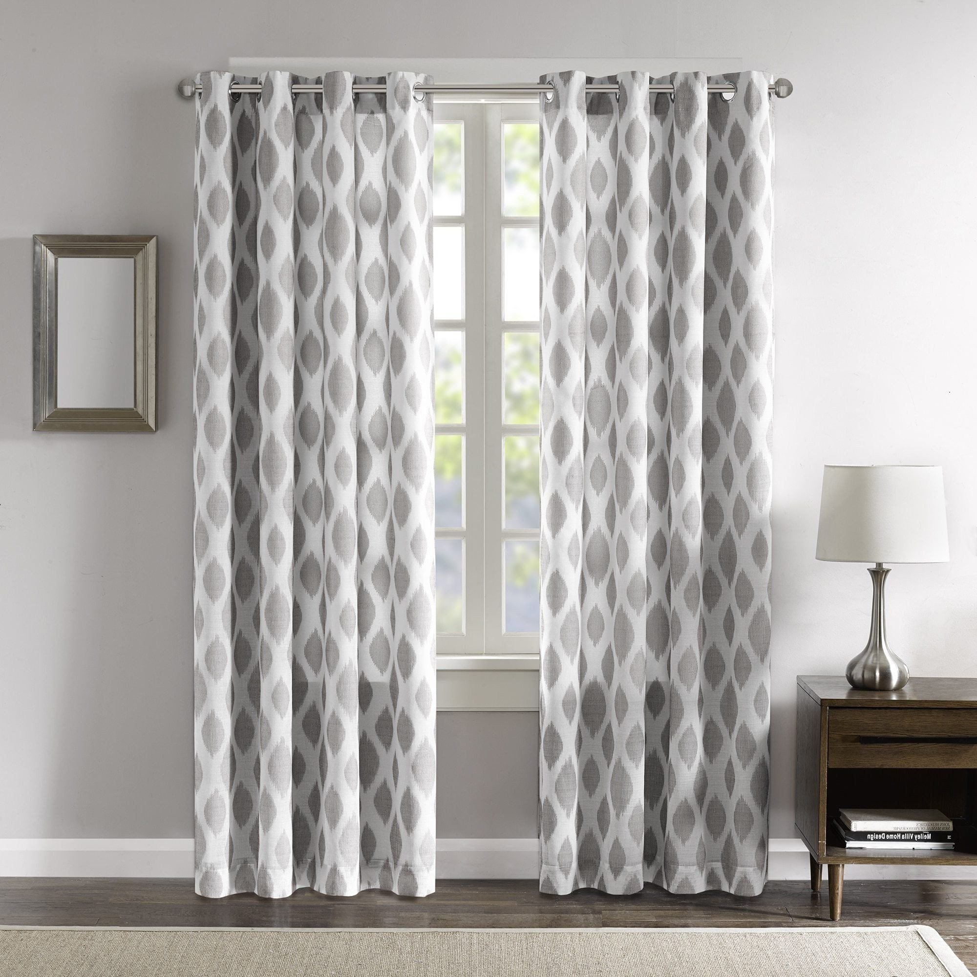 Grey Curtains for Bedroom Inspirational Dh 1 Piece 84 Inch Silver Grey White Ikat Curtain Panel