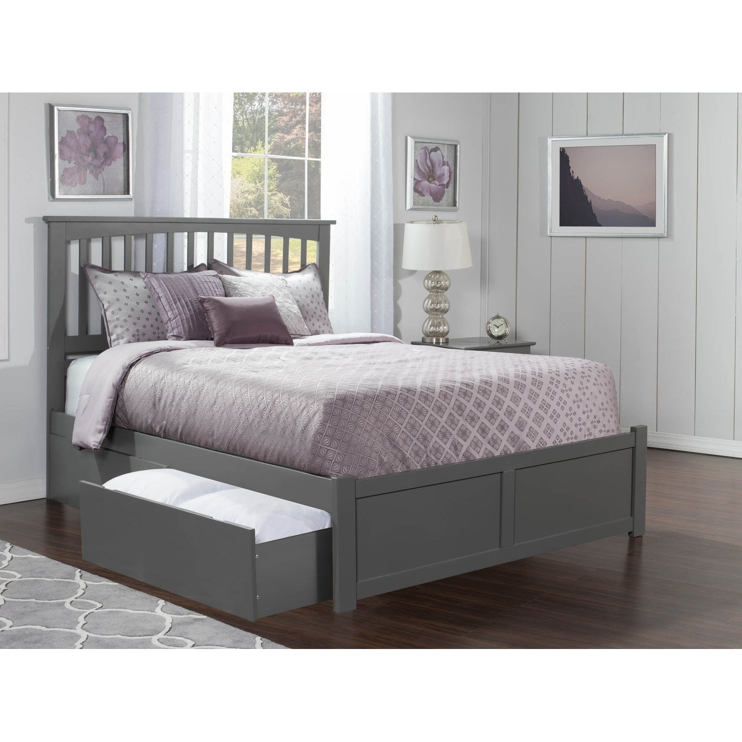 Grey Queen Bedroom Set Inspirational Mission Queen Platform Bed with Flat Panel Foot Board and 2 Urban Bed Drawers In atlantic Grey