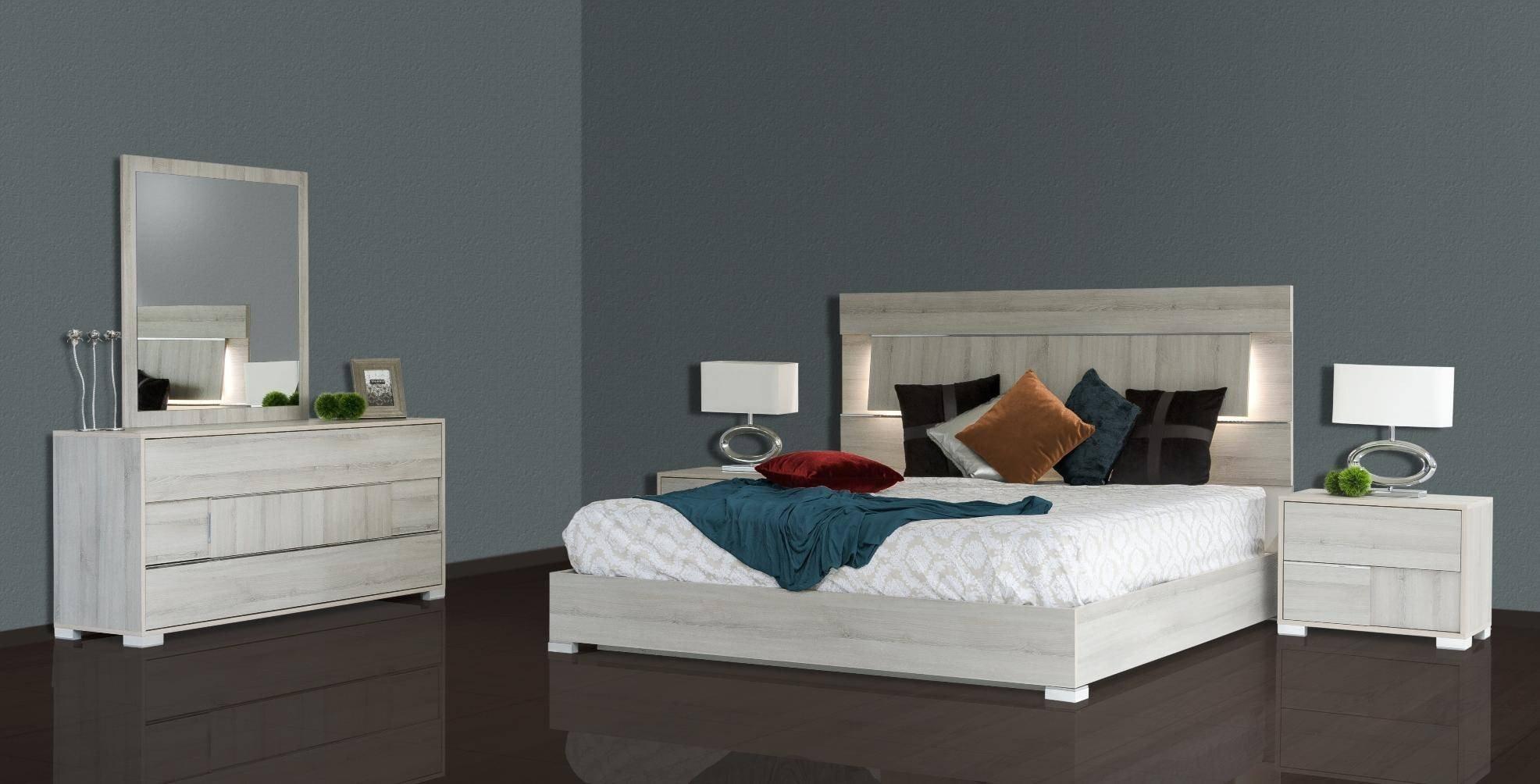 Grey Queen Bedroom Set Luxury Vig Modrest Ethan Grey Veneer Headboard W Led Queen Bedroom