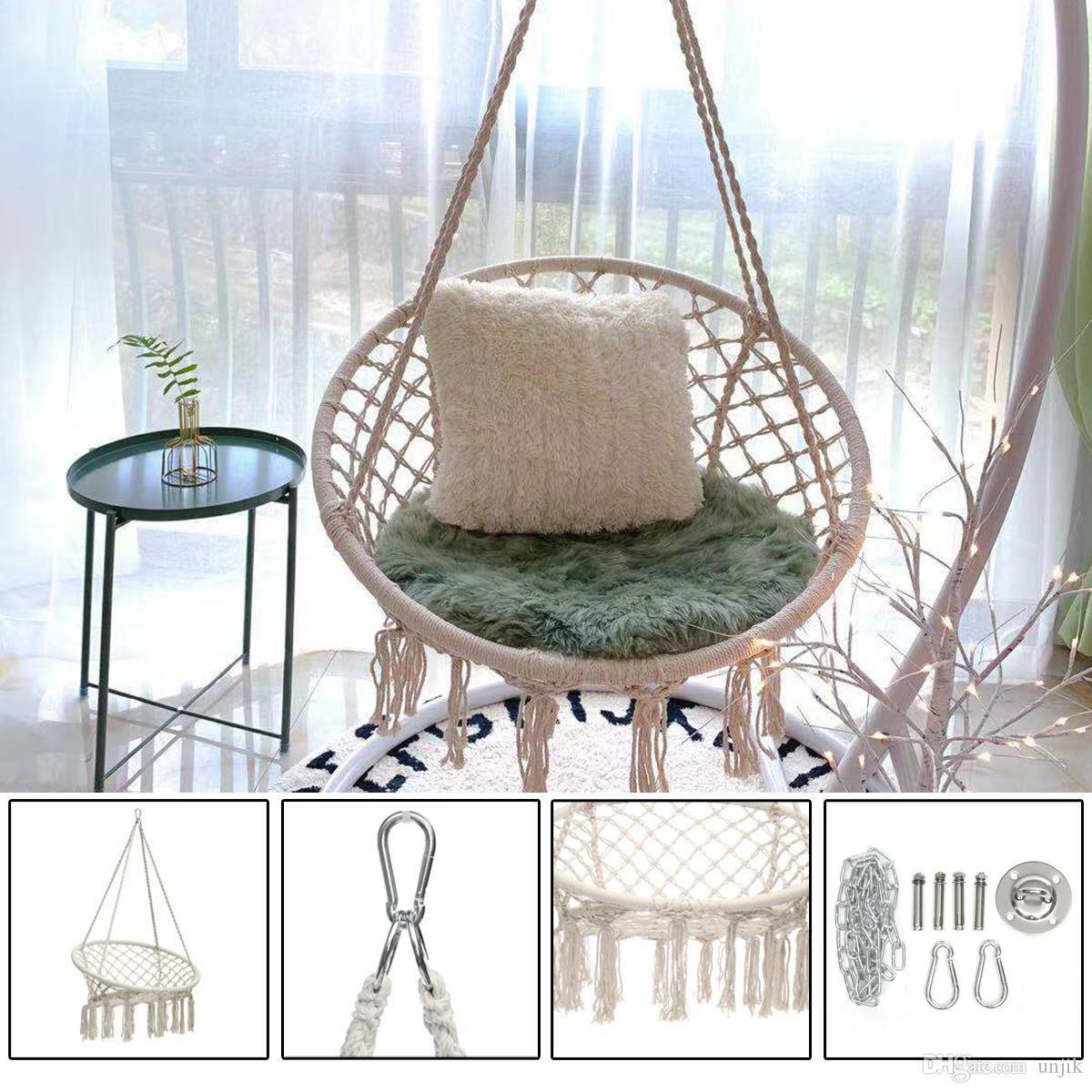 Hammock Bed for Bedroom Elegant 2019 Round Hammock Swing Hanging Chair Outdoor Indoor Dormitory Bedroom Hanging Chair for Child Adult Safety Hammock with Accessories From Unjik