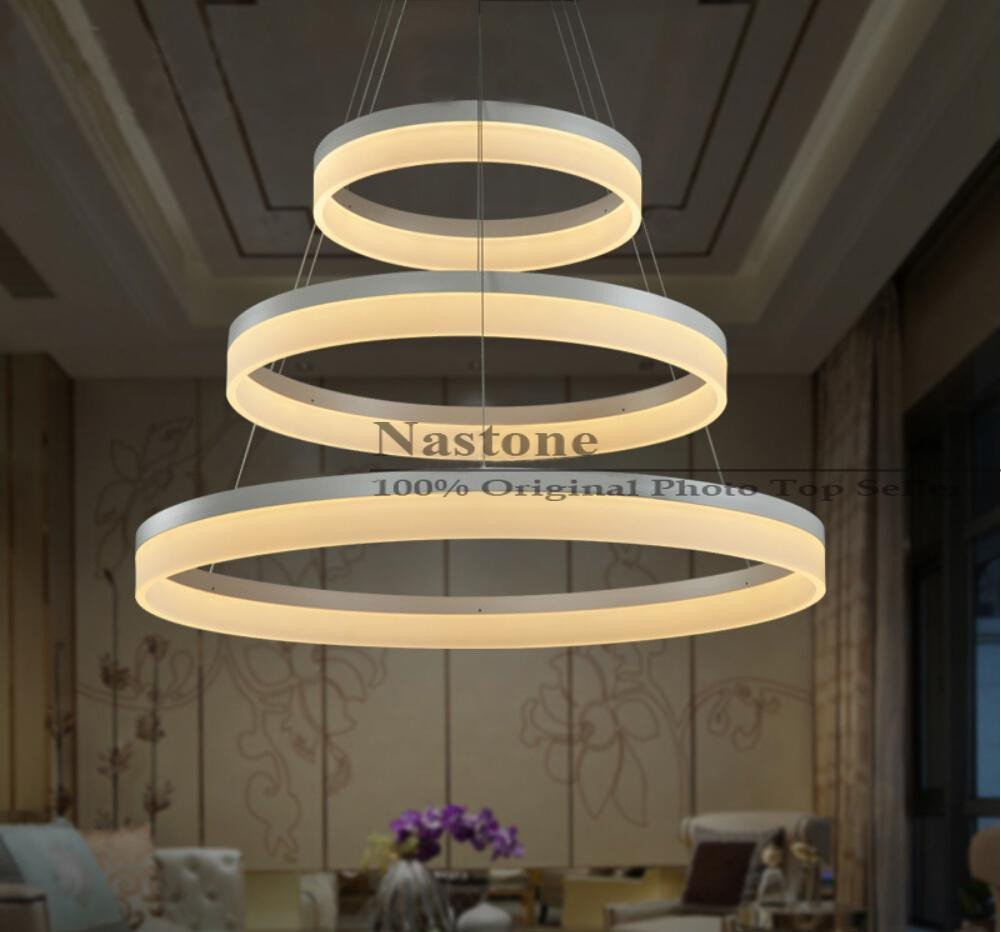 Hanging Lamp for Bedroom New 1 Ring 2 Ring 3 Rings Circles Modern Led Pendant Lights for Dining Room White Acrylic Led Pendant Lamp Contemporary Warmwhite Coldwhite Ceiling Lamp