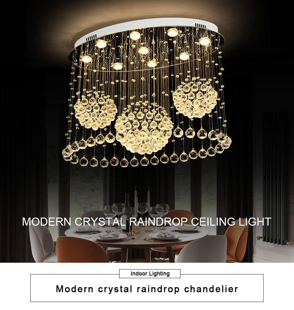 Hanging Light for Bedroom Elegant Modern K9 Crystal Ceiling Lamp for Living Room Home Modern Lighting Fixtures Flush Mount Led Lustres De Cristal Ceiliing Light