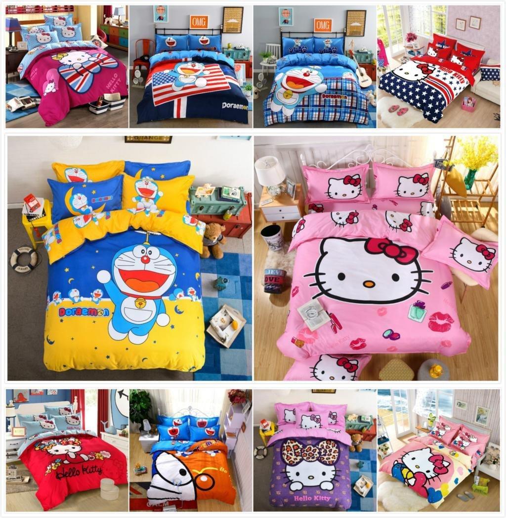 Hello Kitty Bedroom Set Elegant 2019 Bedding Set Cartoon Hello Kitty Cat Doraemon Duvet Cover Sets soft Polyester Bed Linen Flat Bed Sheet Set Pillowcase From Carmlin $30 95