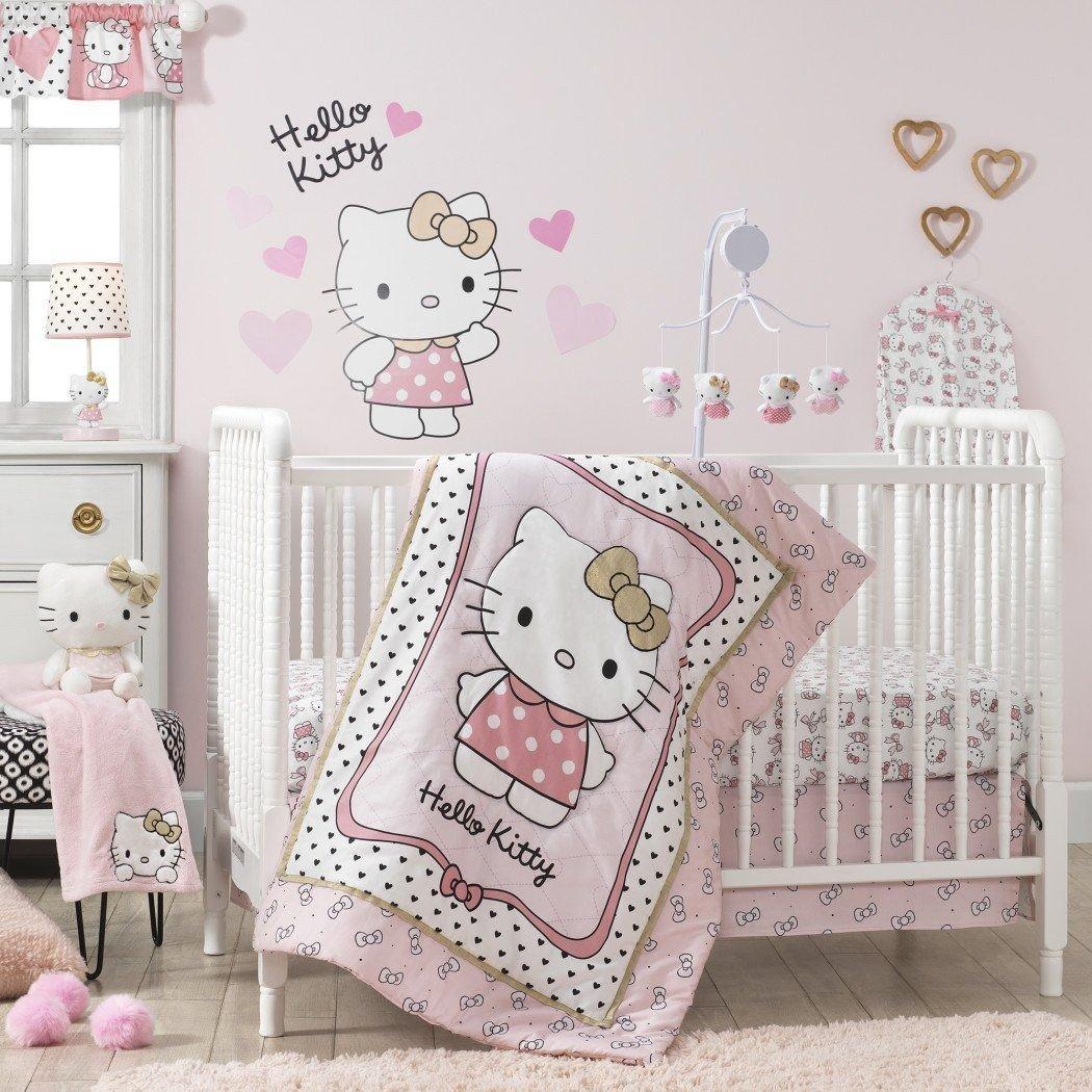 Hello Kitty Bedroom Set Inspirational Baby Girls Pink White Hello Kitty Crib Bedding Set Newborn