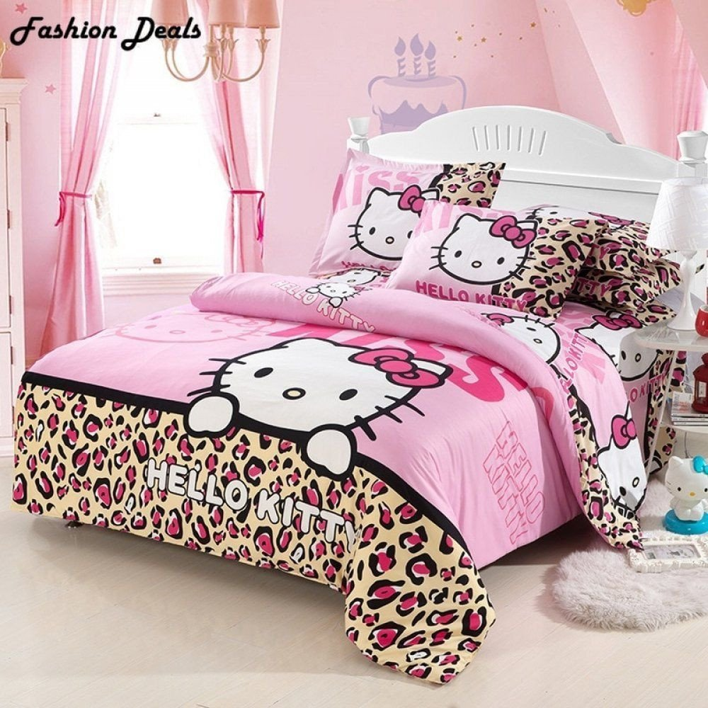 Hello Kitty Bedroom Set Inspirational Home Textile Hello Kitty Pattern Bedding Set