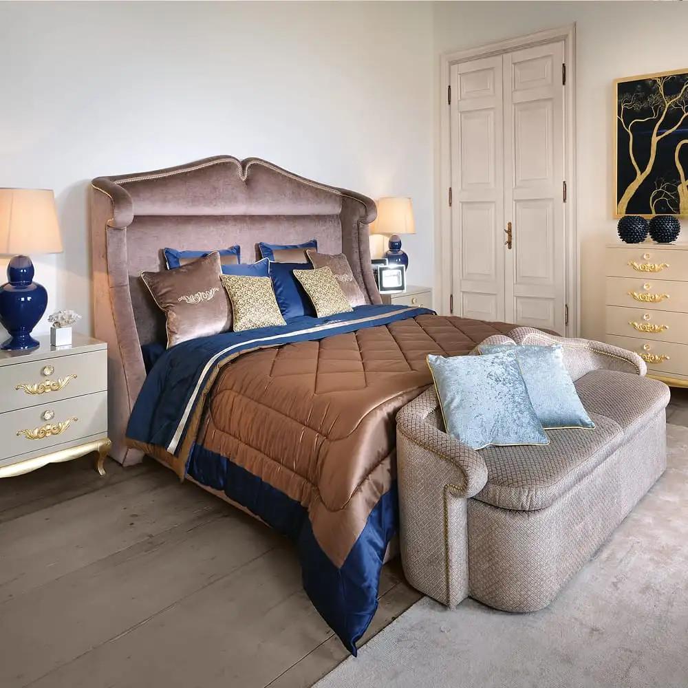 High End Bedroom Furniture Luxury High End Modern Italian Velvet Upholstered Storage Bed In