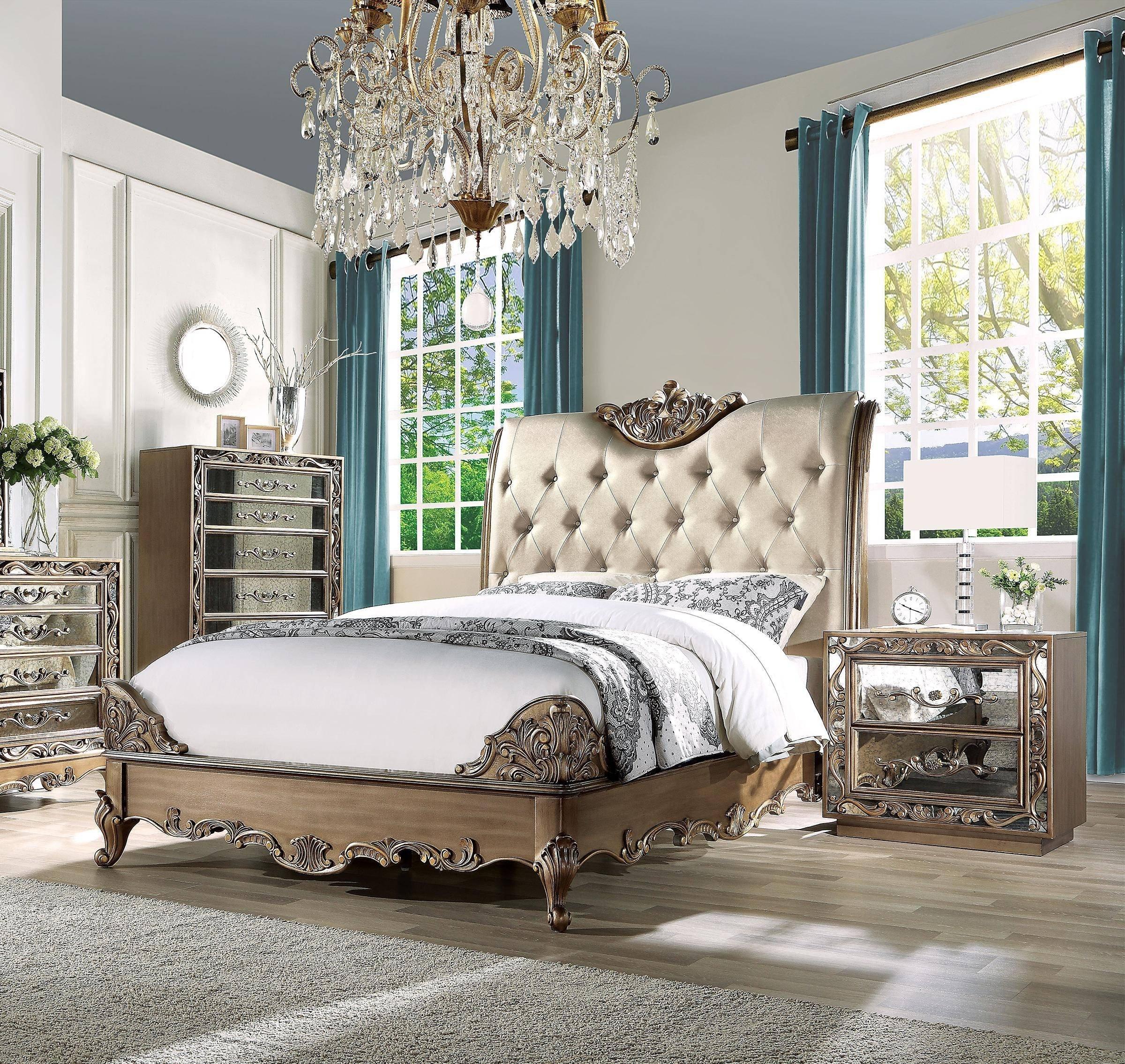 Home Furniture Bedroom Set Best Of Luxury King Bedroom Set 3 Antique Gold Champagne F Leather