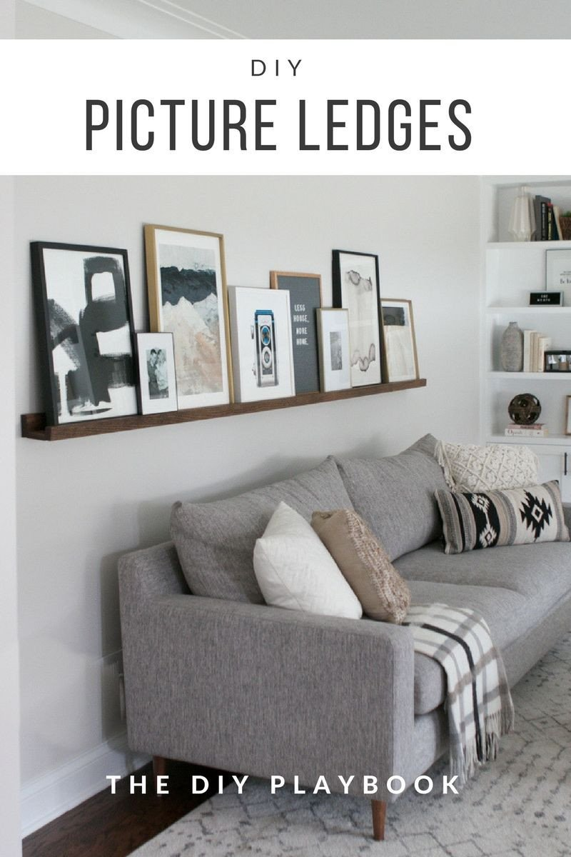 Homemade Wall Decoration Ideas for Bedroom Lovely Diy Picture Ledge Over the Couch Filled with Art