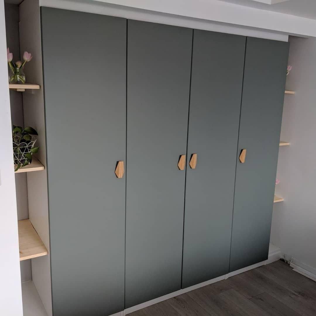 Ikea Bedroom Furniture Wardrobes Best Of Built In Pax Wardrobe Reinsvoll Grey Green Door Bamboo