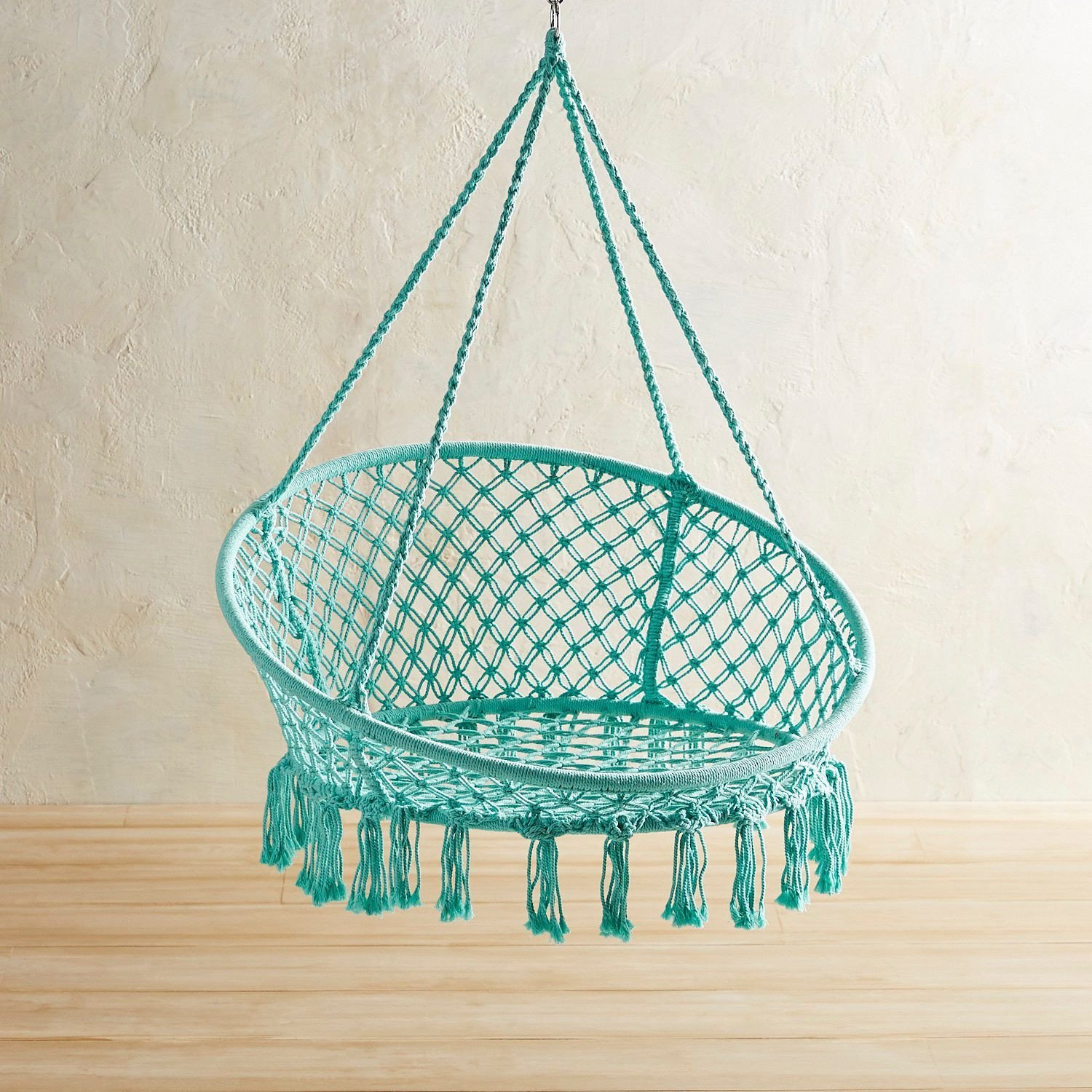 Indoor Hanging Chair for Bedroom Awesome Turquoise Macrame Hanging Saucer Chair