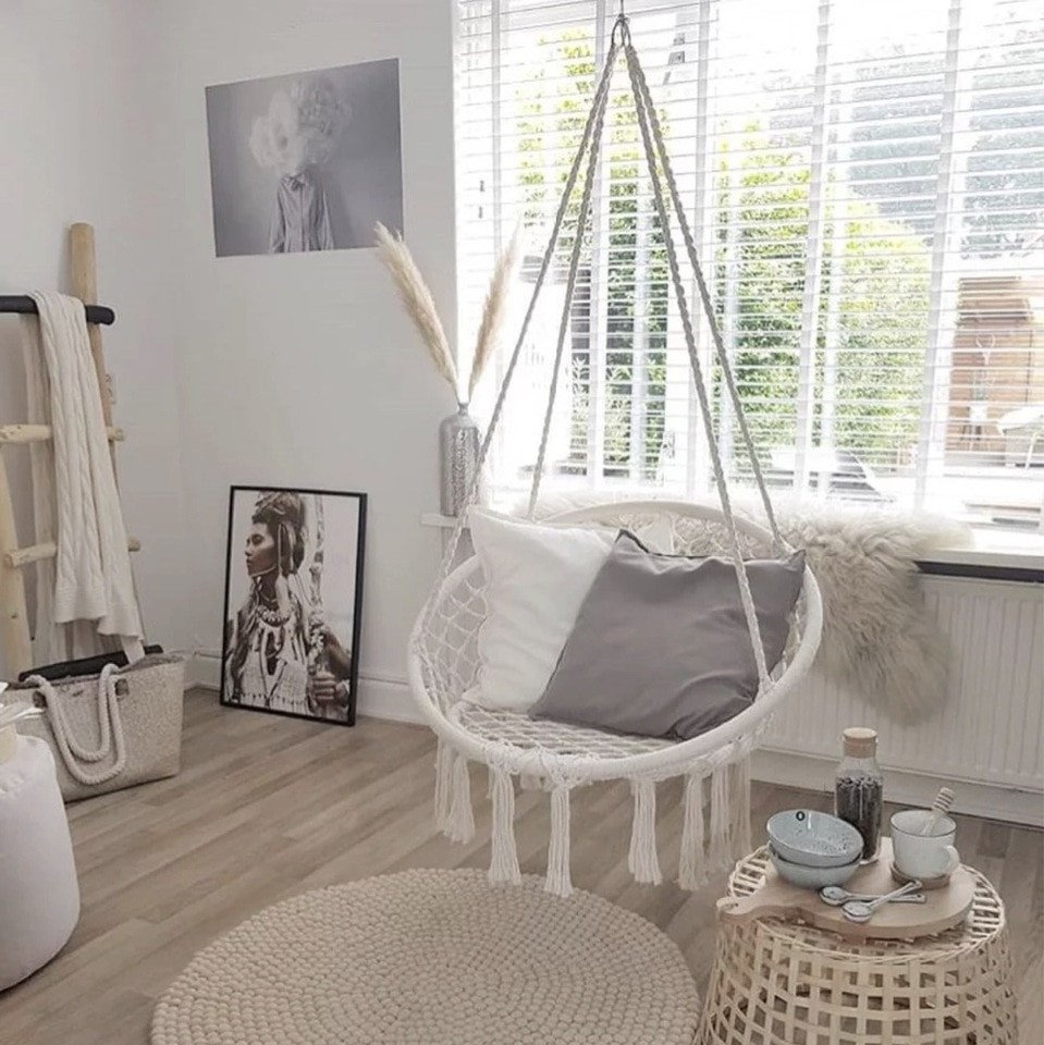 Indoor Hanging Chair for Bedroom Lovely nordic Style Round Hammock Outdoor Indoor Dormitory Bedroom Hanging Chair for Child Adult Swinging Single Safety Hammock White