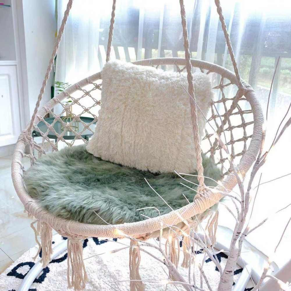 Indoor Hanging Chair for Bedroom Unique nordic Style Round Hammock Outdoor Indoor Dormitory Bedroom Hanging Chair for Child Adult Swinging Single Safety Hammock White