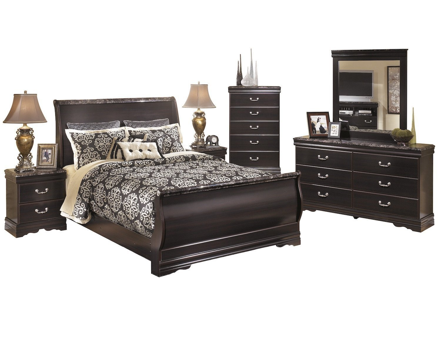 Juararo Queen Bedroom Set Beautiful Amazon ashley Esmarelda 6pc Queen Panel Bedroom Set