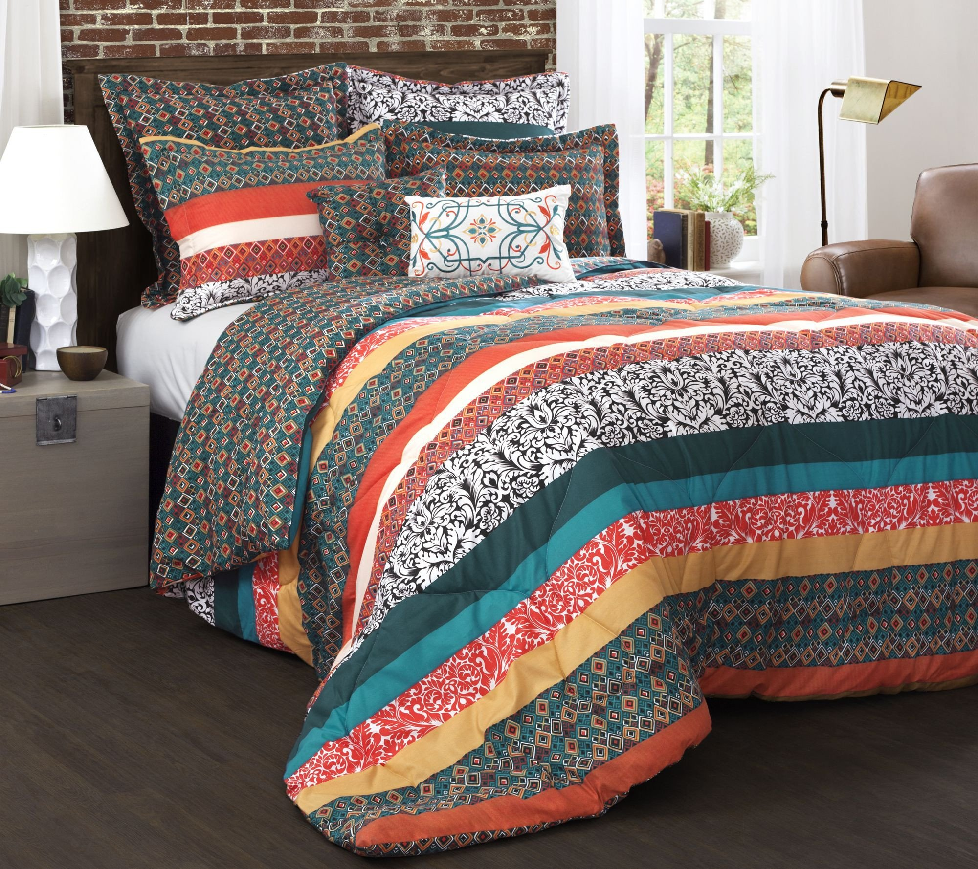 Kathy Ireland Bedroom Furniture New Boho Stripe 7 Piece Full Queen forter Set by Lush Decor — Qvc