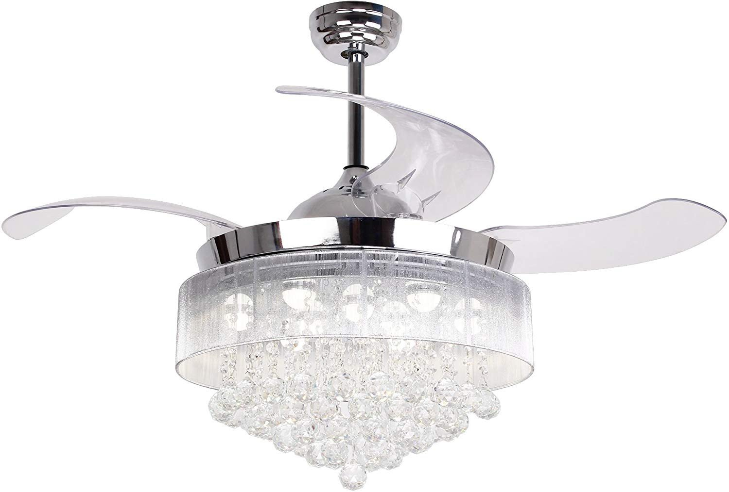 Kids Bedroom Ceiling Light Lovely Ceiling Fans with Led Lights 46 Inch Ceiling Fan with Remote Crystal Chandelier Fans with Retractable Blades Replaceable 4000k Cool White Lights Not