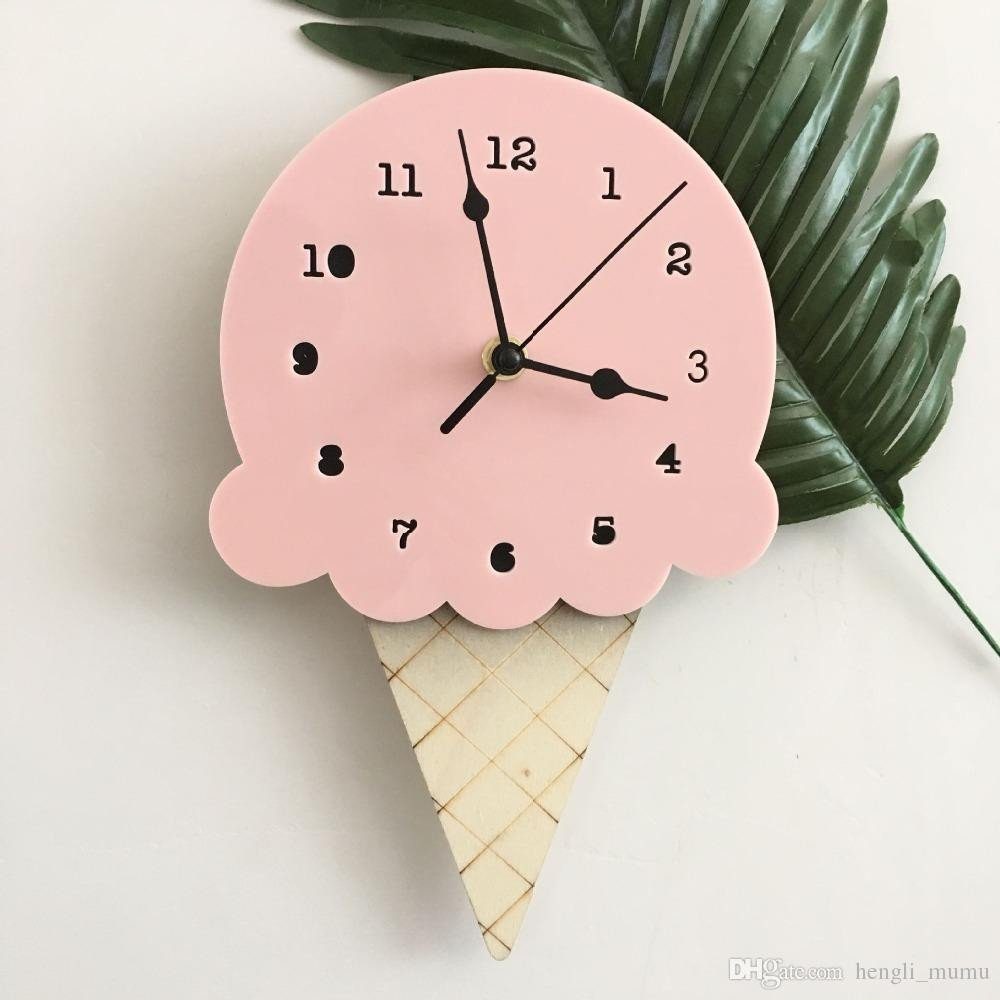 Kids Bedroom Wall Decor Beautiful nordic Ice Cream Wall Clocks Cartoon Mute Watch Wall Home Decor Kids Room Wall Decoration Cute ornament Baby Gift Zj0477 Metal Clocks Metal Wall Clock