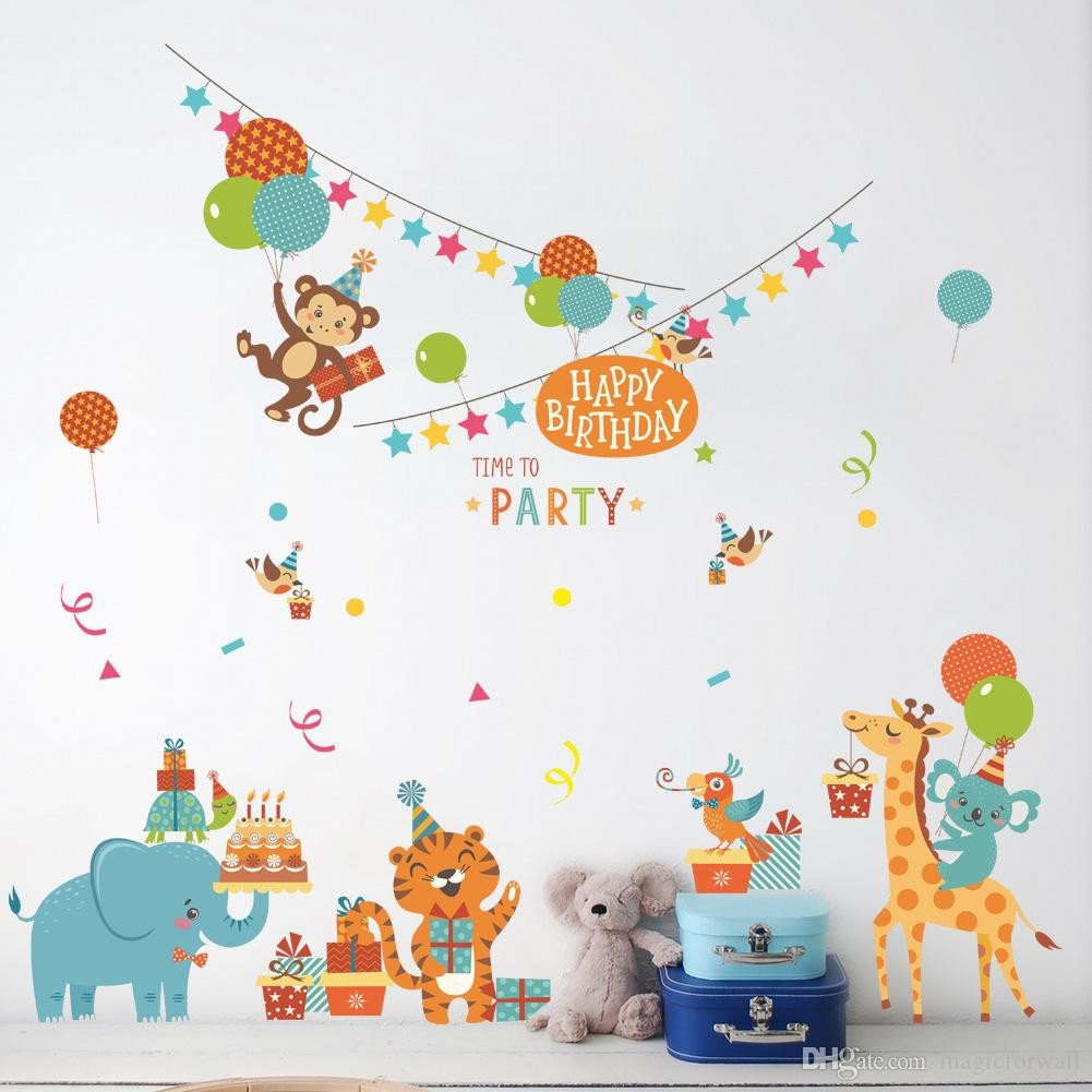Kids Bedroom Wall Decor Elegant Cartoon Animals Birthday Party Wall Stickers for Kids Boys Girls Room Decor Air Balloon Cake Gift Party Wall Graphic Poster Wall Decals