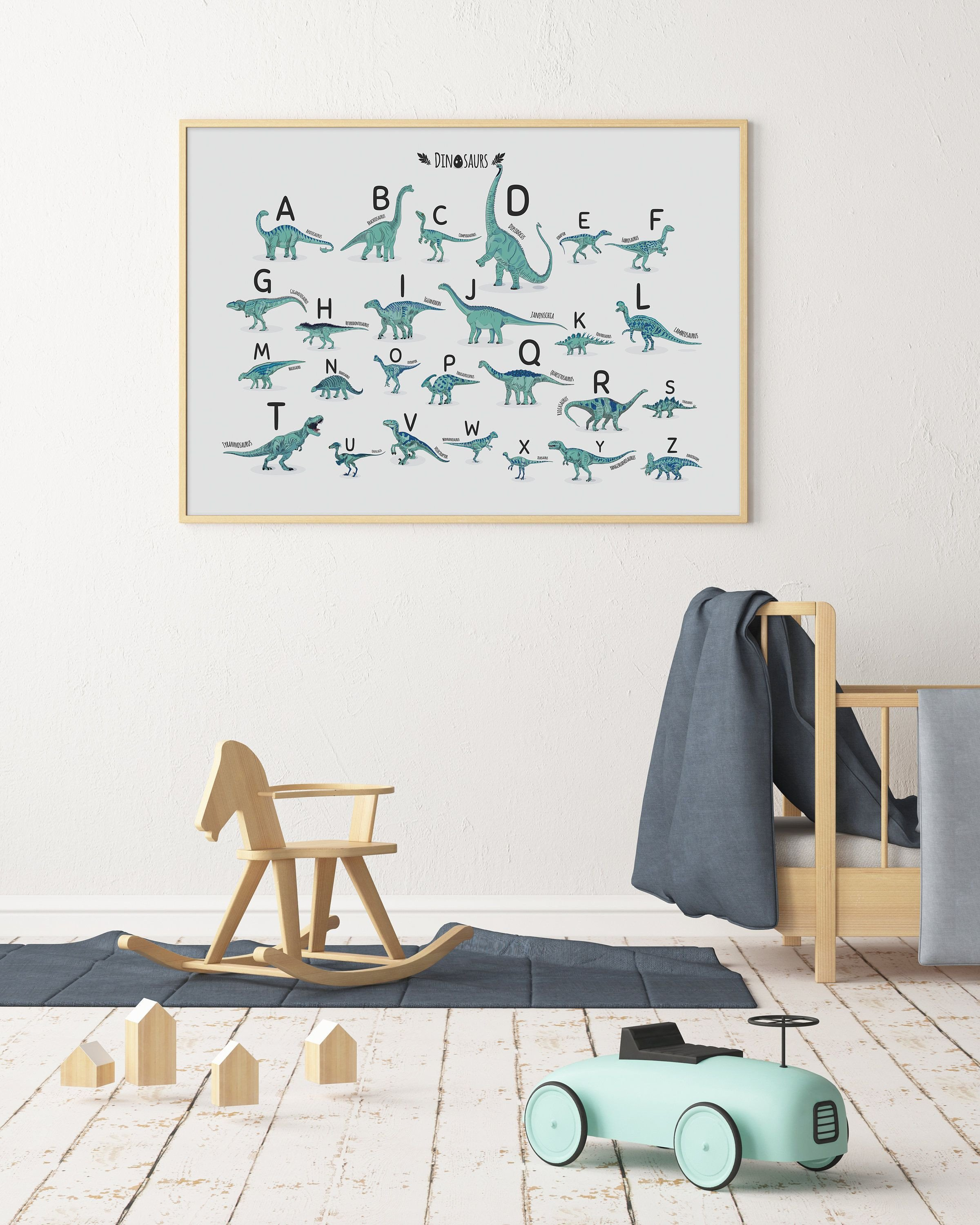 Kids Bedroom Wall Decor Unique Alphabet Print Alphabet Dinosaur Horizontal Abc Poster