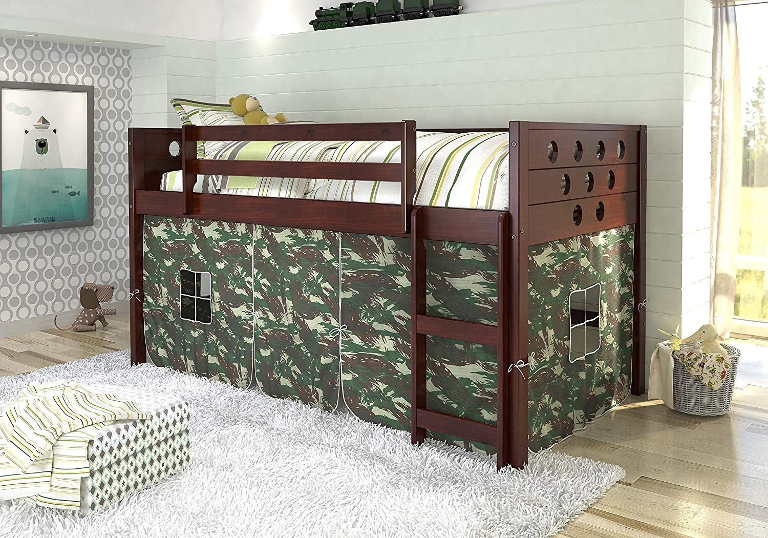 Kids Bunk Bed Bedroom Set Inspirational Amazon Donco Kids Circles Low Loft Bed with Tent Twin