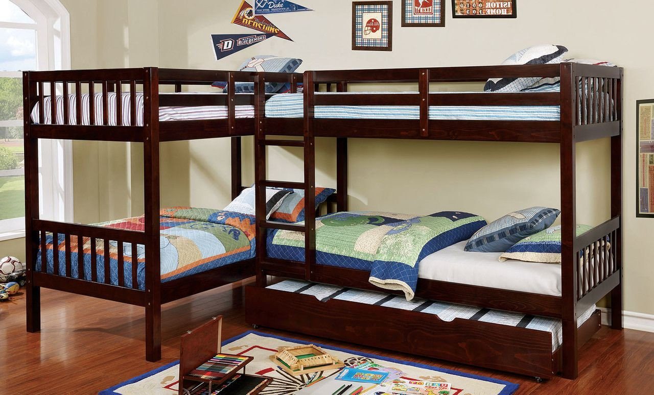 Kids Bunk Bed Bedroom Set Inspirational L Shaped Quadruple Wood Twin Bunk Bed In Dark Walnut In 2019