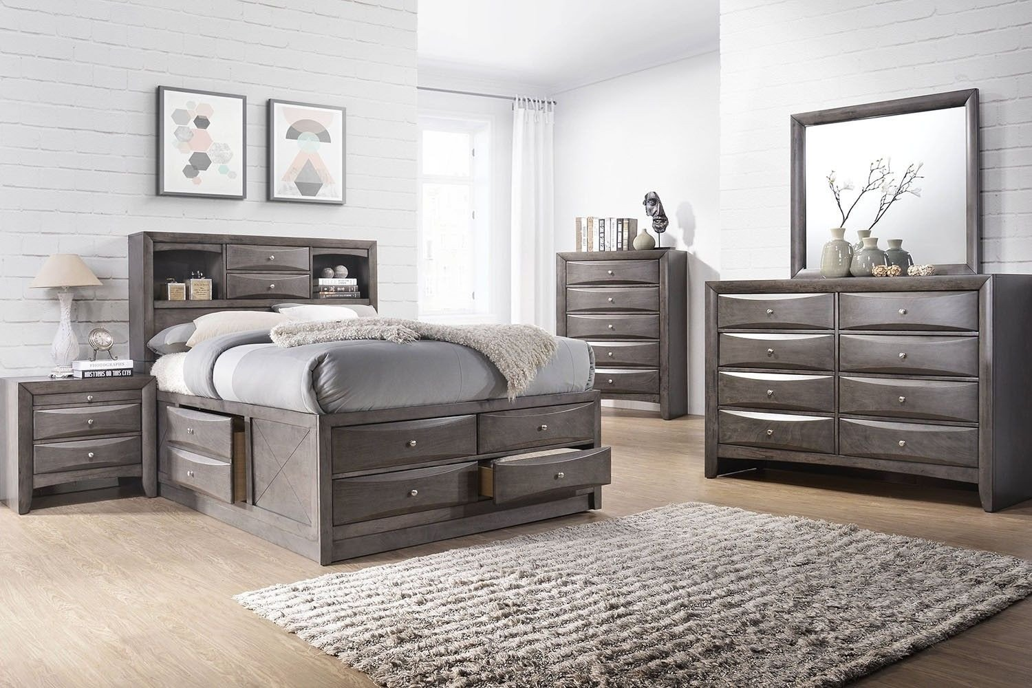 Kids Full Bedroom Set Inspirational the Remi Gray Storage Bedroom Pairs Cool Contoured Lines