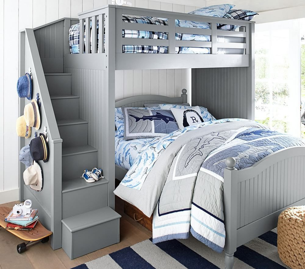 Kids Full Bedroom Set Luxury Catalina Stair Loft Bed & Lower Bed Set