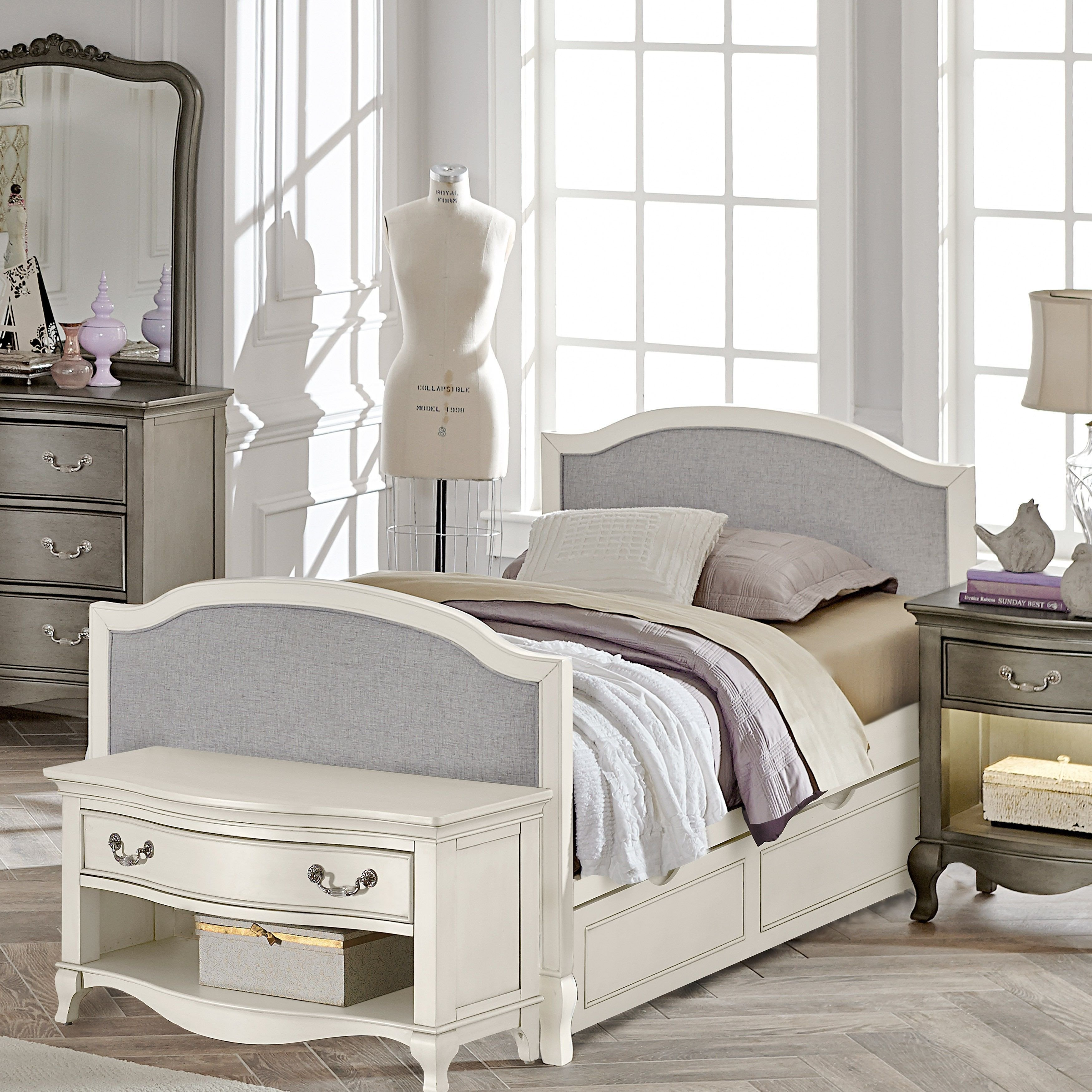 Kids Twin Bedroom Set New Kensington Victoria Antique White Twin Size Upholstered