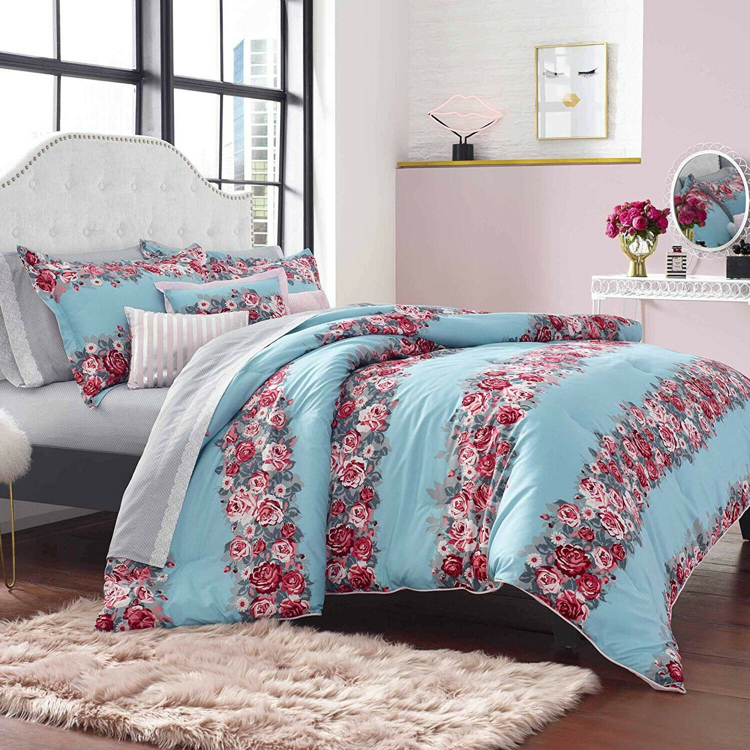 King Bedroom Comforter Set Elegant Elegant Colorful Pink Blue Floral 6 Pcs King Queen forter